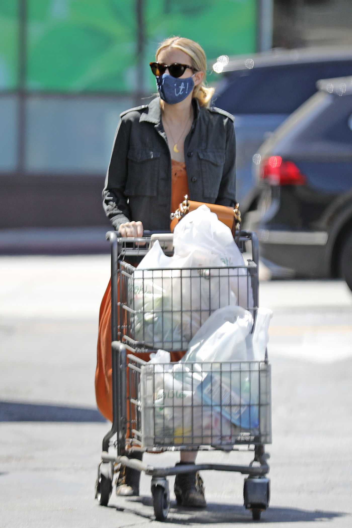 Emma Roberts in a Black Jacket Goes Grocery Shopping in LA 08/15/2020