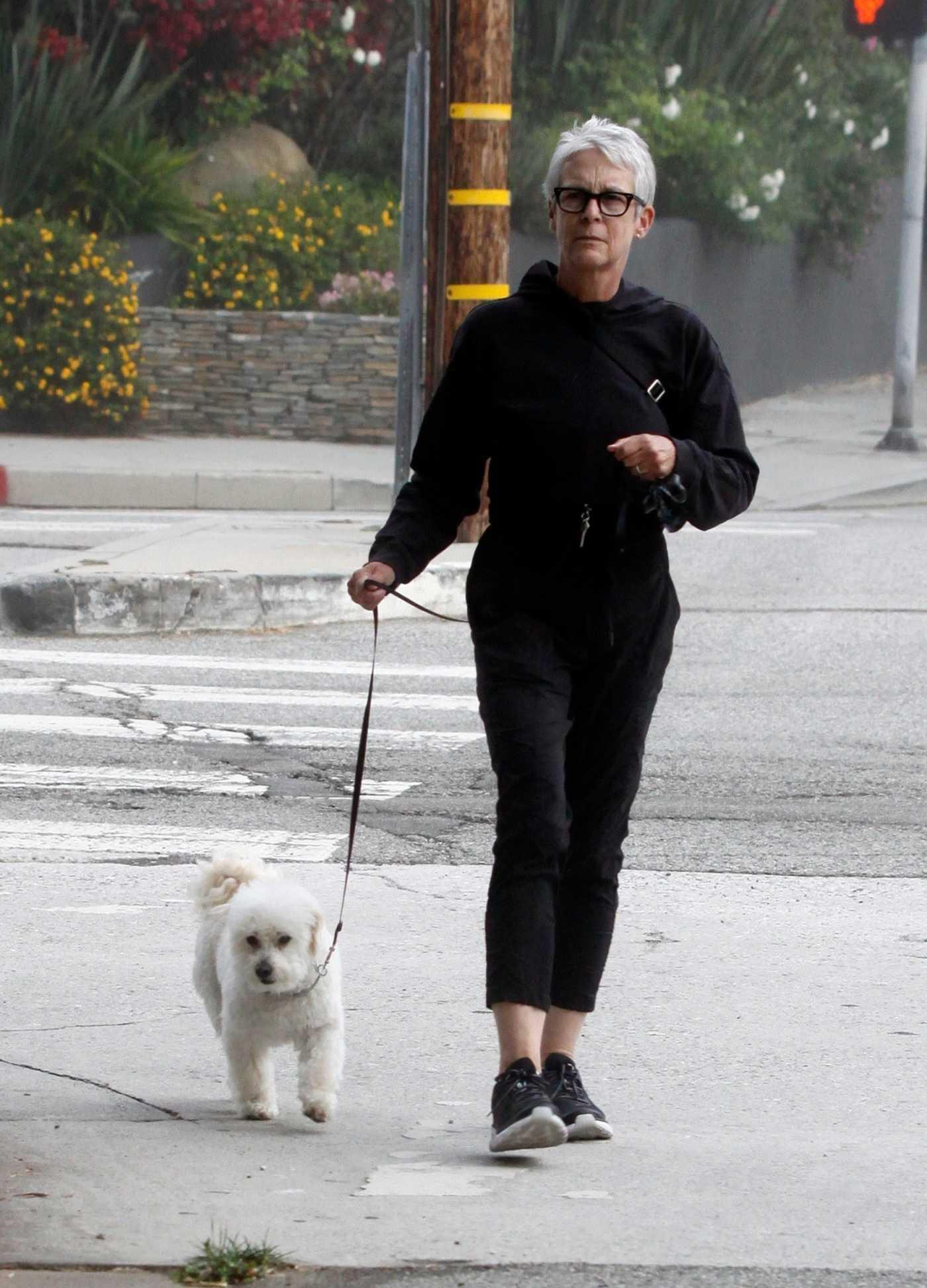 Jamie Lee Curtis in a Black Hoody Walks Her Dog Around Los Angeles 08/02/2020