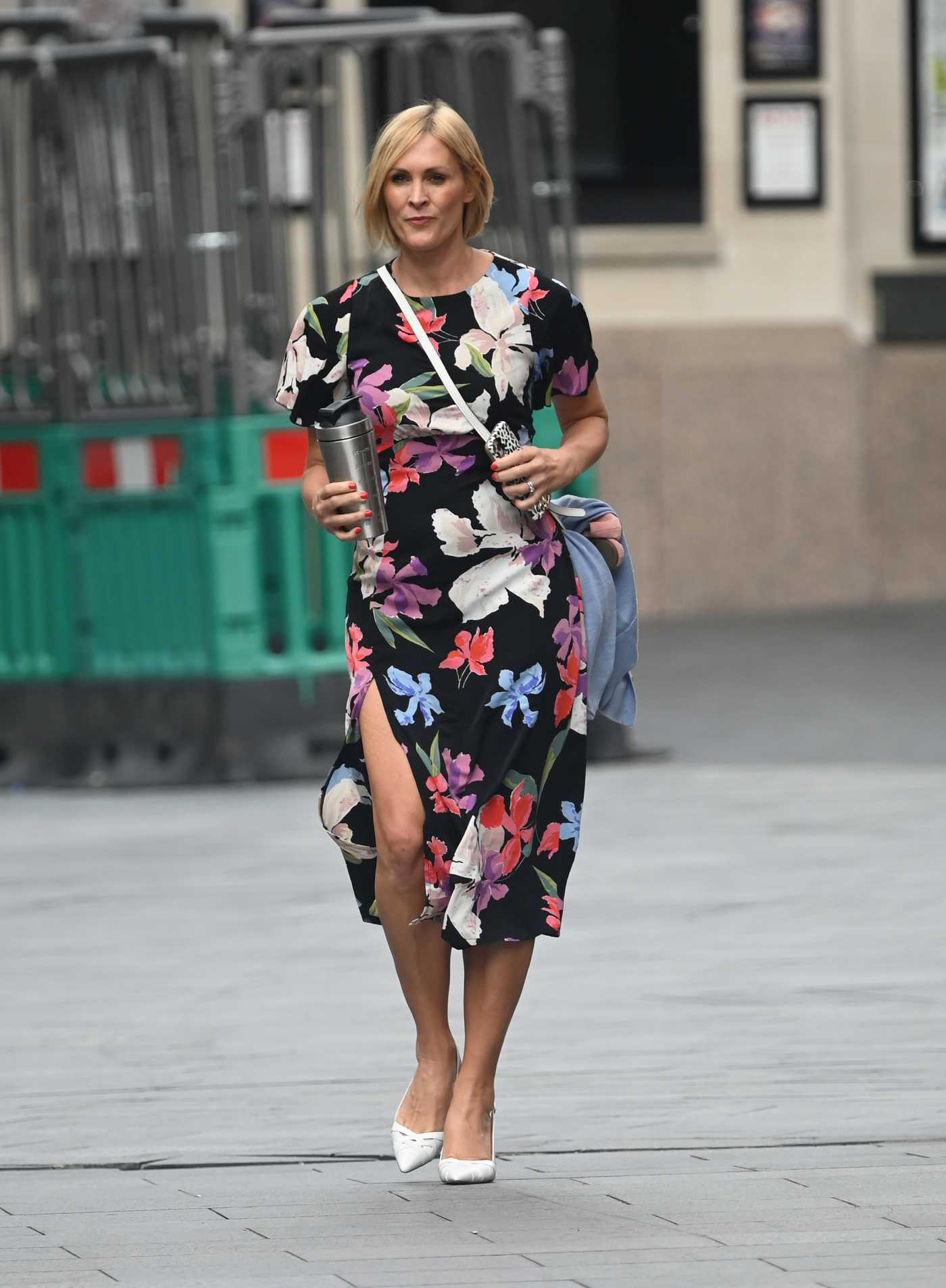 Jenni Falconer in a Flowery Summer Dress Leaves the Global Radio in London 08/20/2020