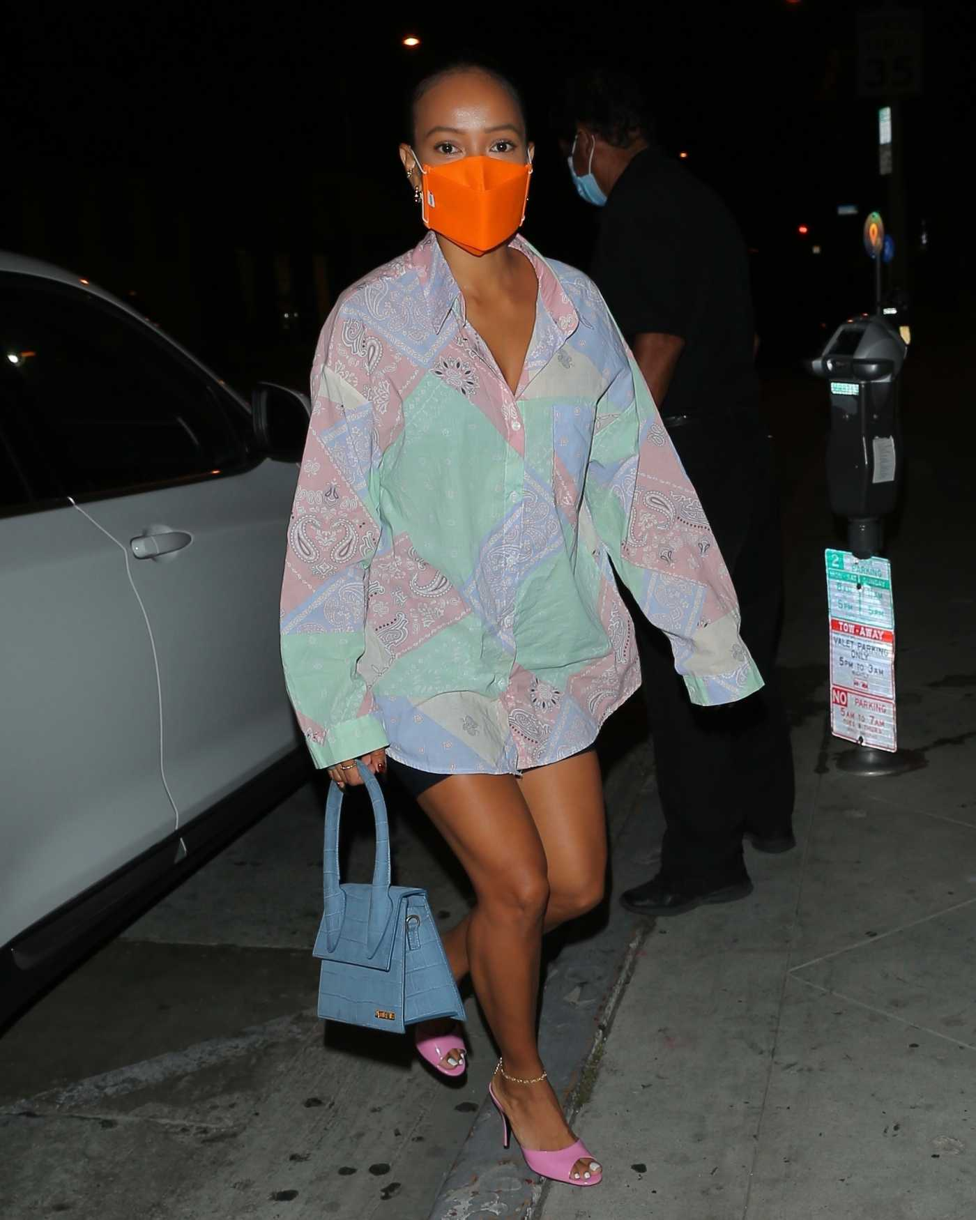 Karrueche Tran in an Orange Protective Mask Steps Out for Dinner at Catch in West Hollywood 08/22/2020