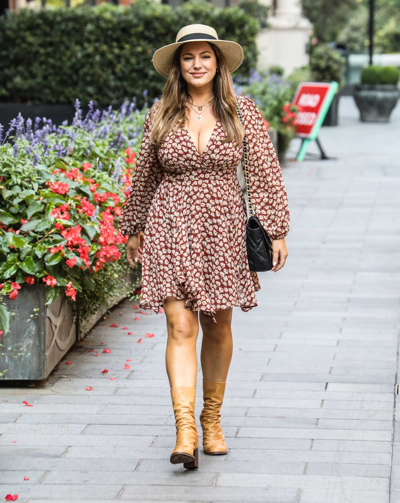 Kelly Brook in a Short Floral Dress Arrives at the Global Radio Studios in London 08/13/2020