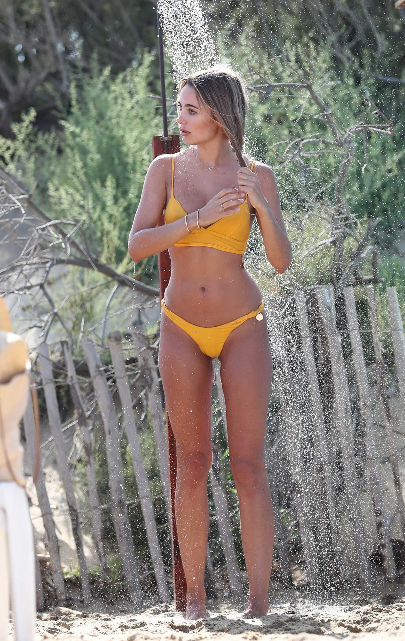 Kimberley Garner in a Yellow Bikini on Pampelonne Beach in St Tropez 08/05/2020
