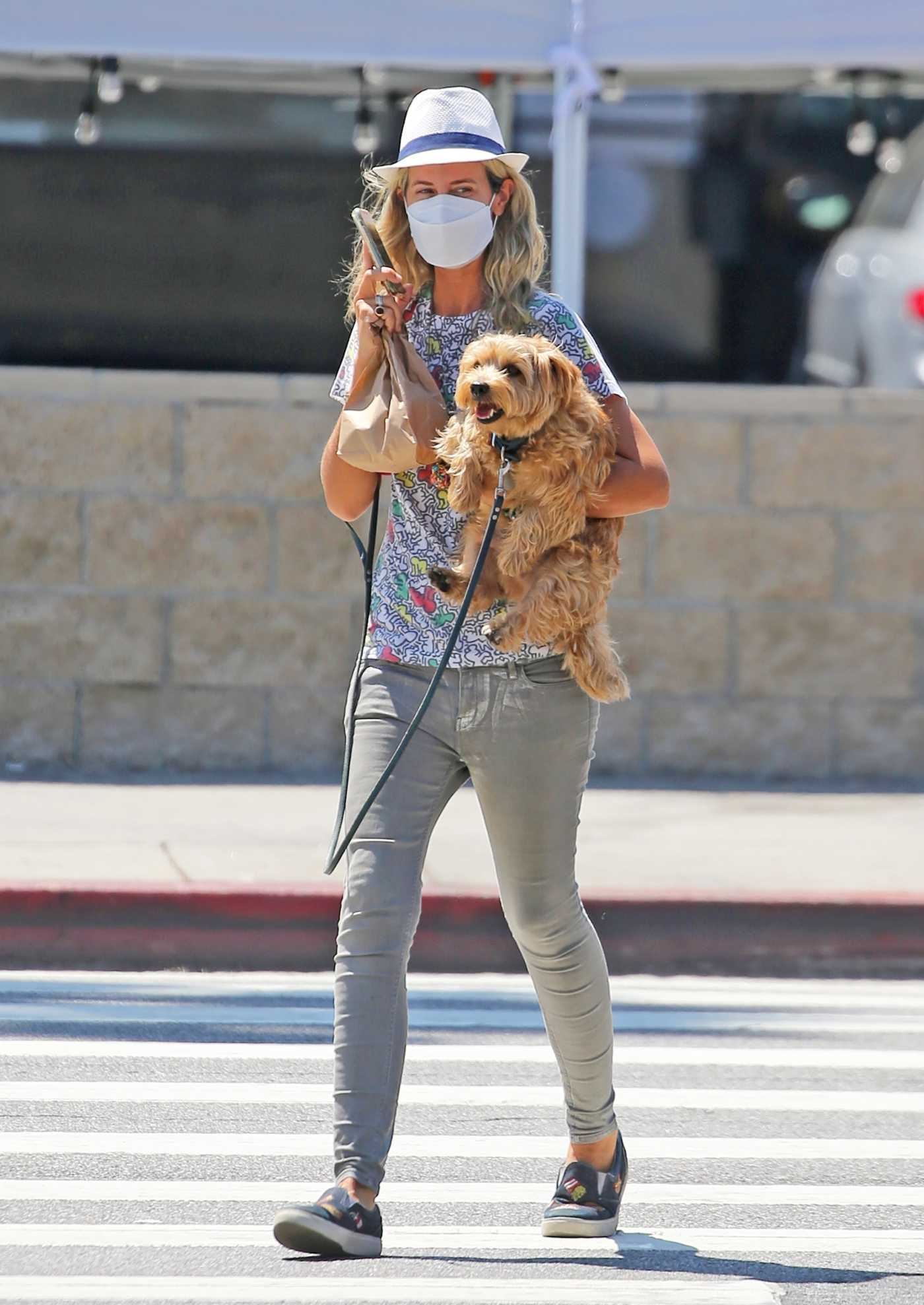 Lady Victoria Hervey in a Vintage Keith Haring T-Shirt Walks Her Dog Down Sunset Blvd in West Hollywood 08/26/2020