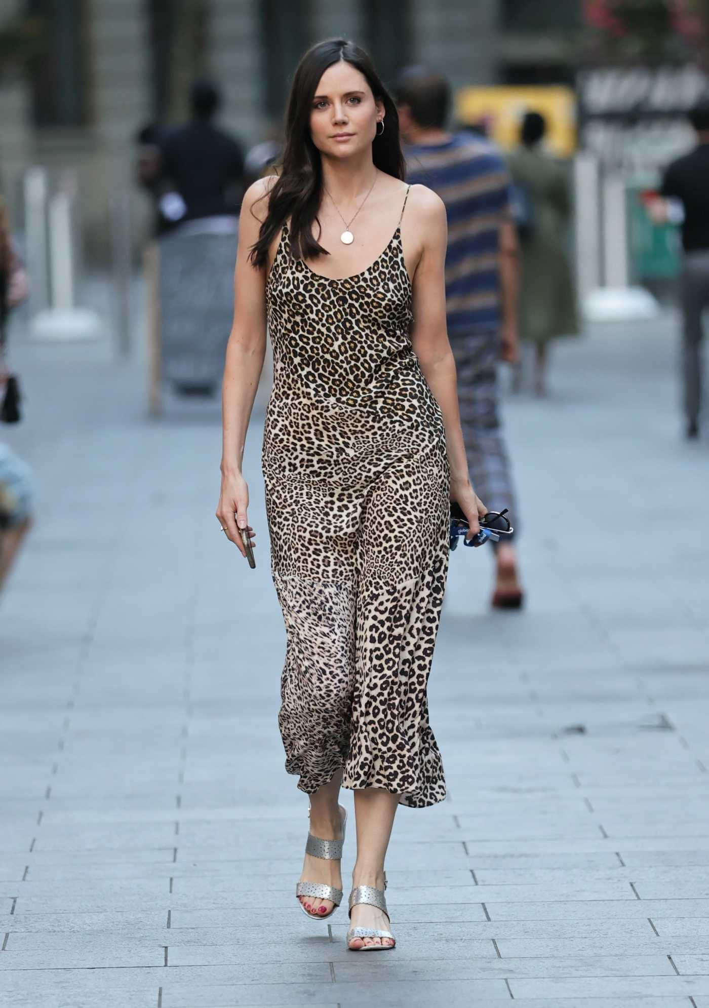 Lilah Parsons in a Leopard Print Dress Arrives at the Heart Radio in London 08/11/2020