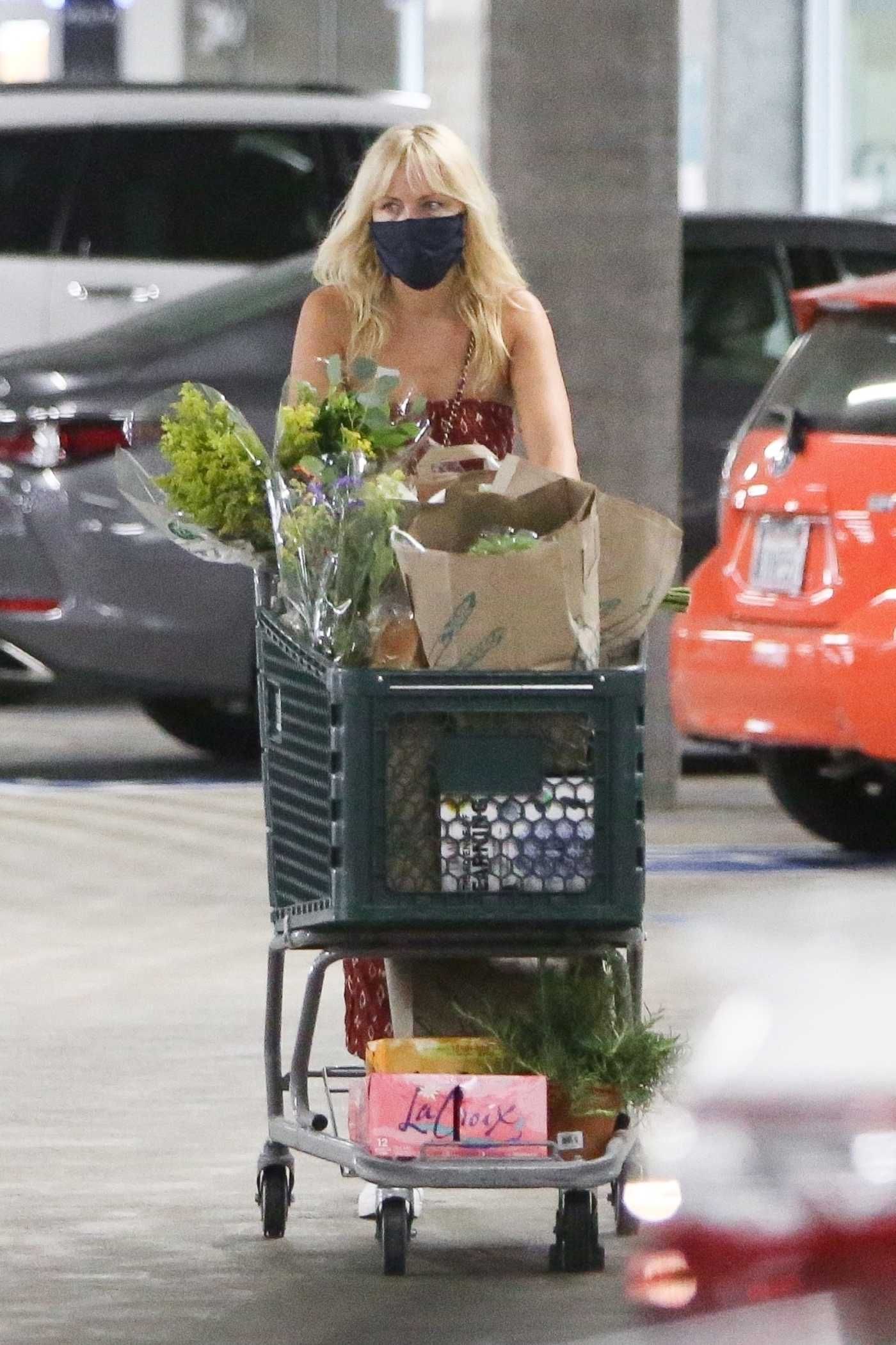 Malin Akerman in a Red Jumpsuit Goes Grocery Shopping in Los Angeles 08/21/2020