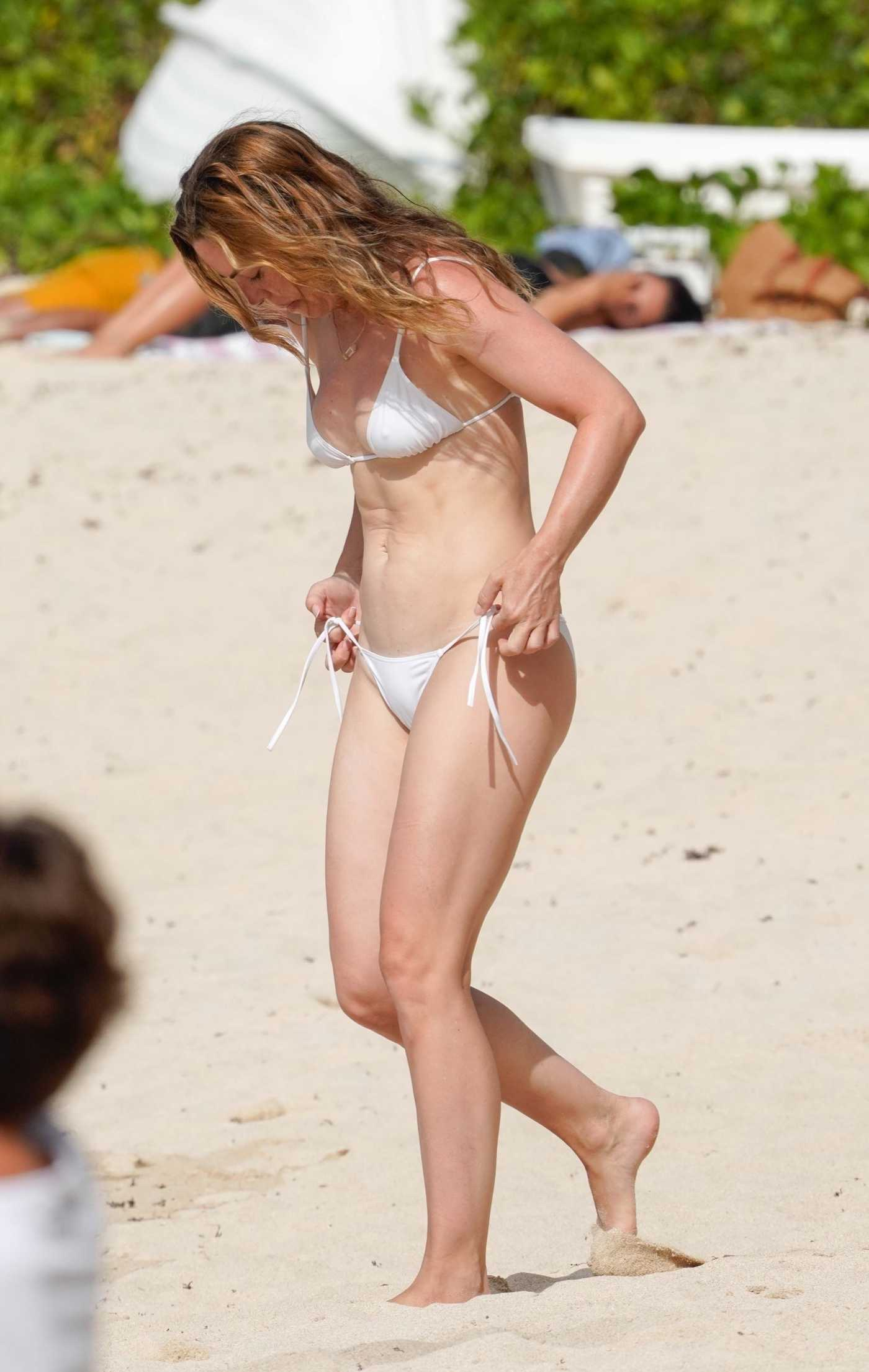 Melissa George in a White Bikini on the Beach in St. Barts 08/08/2020