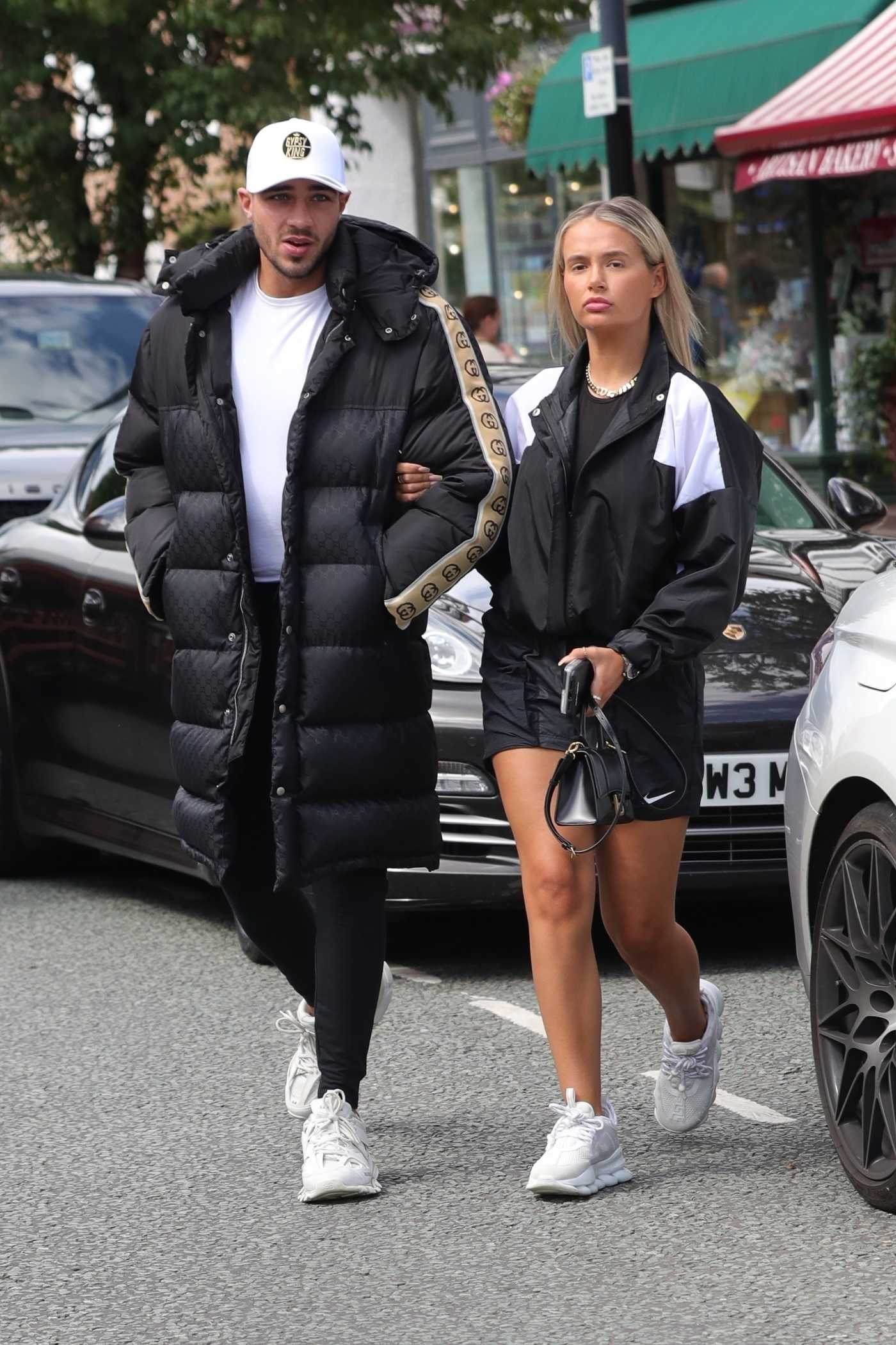 Molly-Mae Hague in a White Sneakers Was Seen Out with Tommy Fury in Cheshire 08/05/2020
