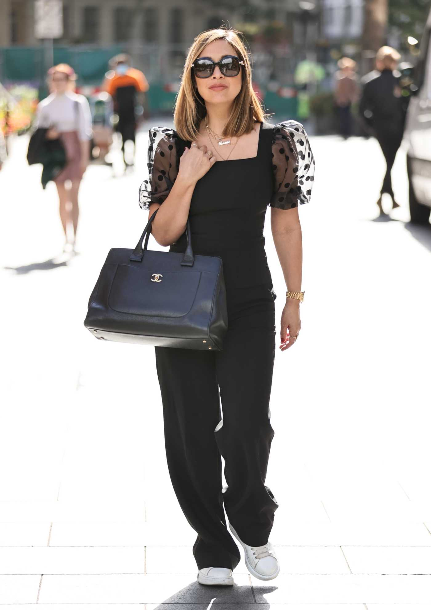 Myleene Klass in a Black Sheer Lace Top Was Seen Out in London 08/04/2020