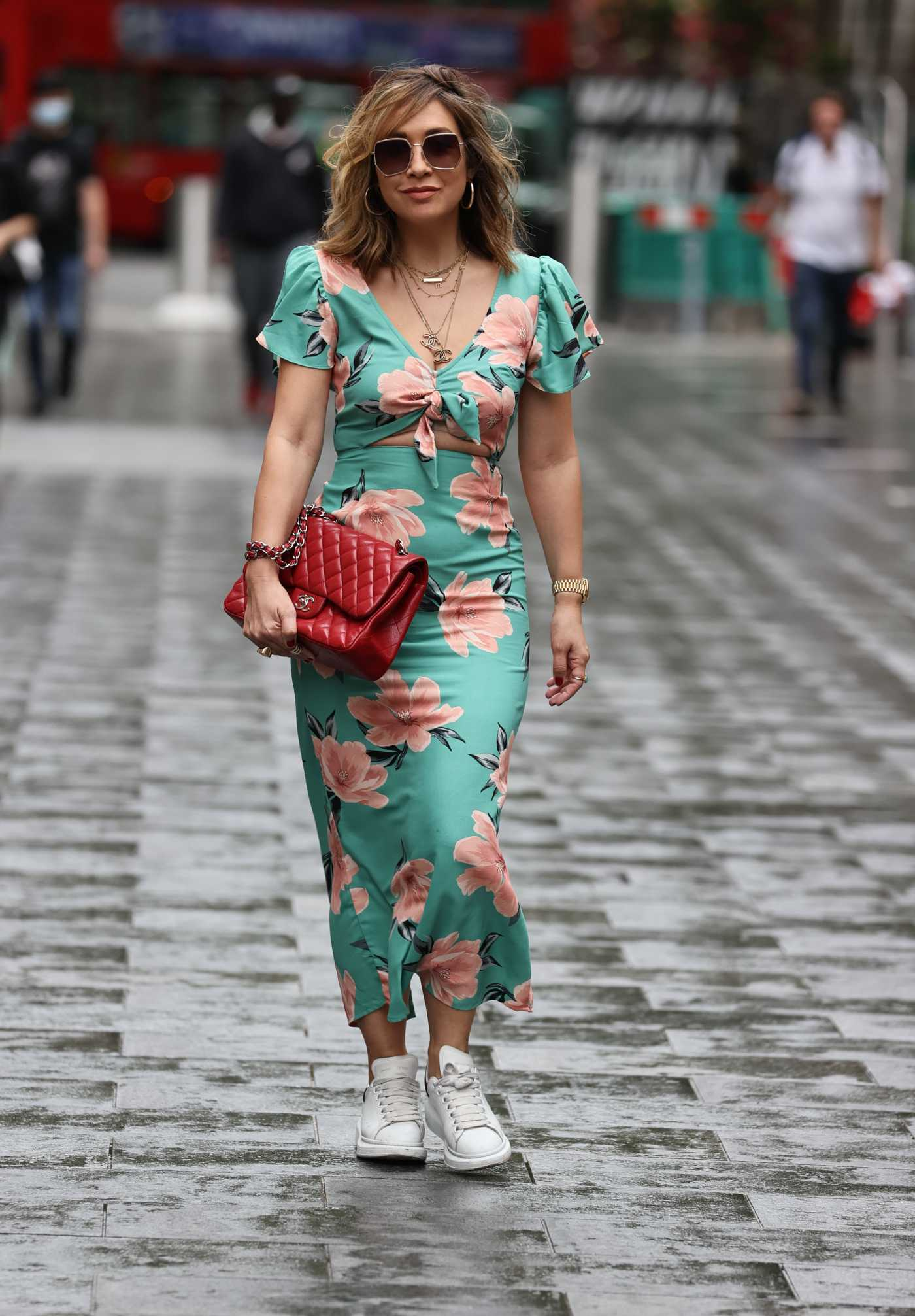 Myleene Klass in a Green Floral Dress Arrives at the Smooth Radio in London 08/06/2020