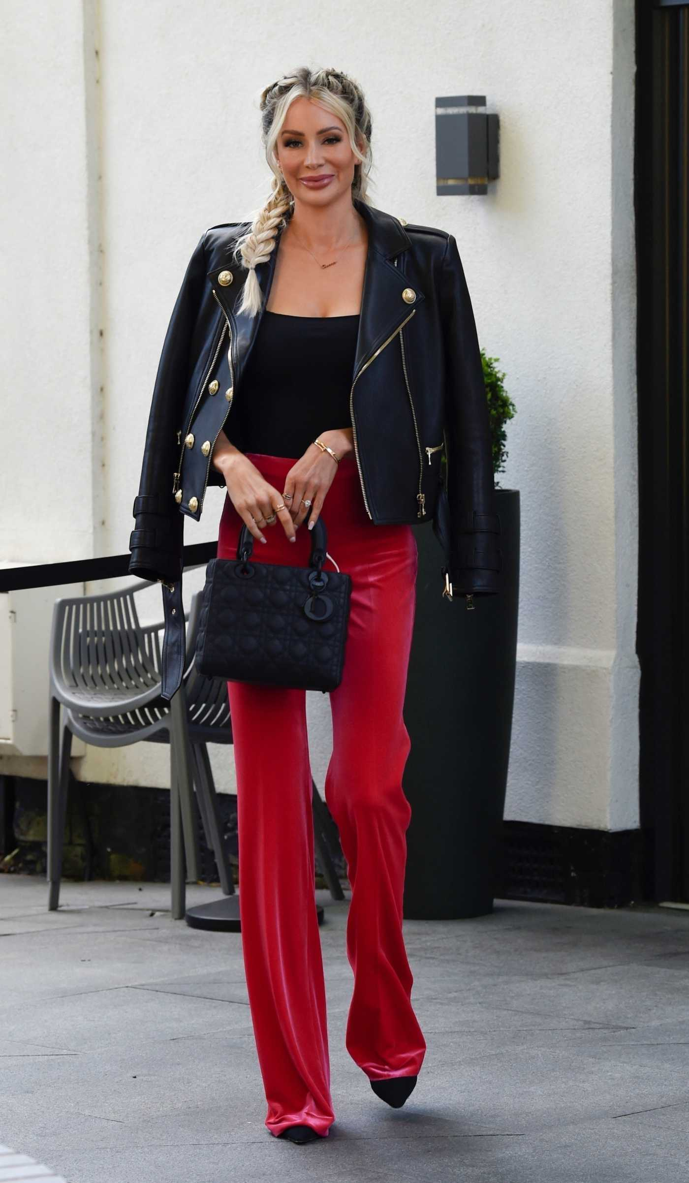 Olivia Attwood in a Red Pants Arrives at Albert's Restaurant in Didsbury 08/25/2020