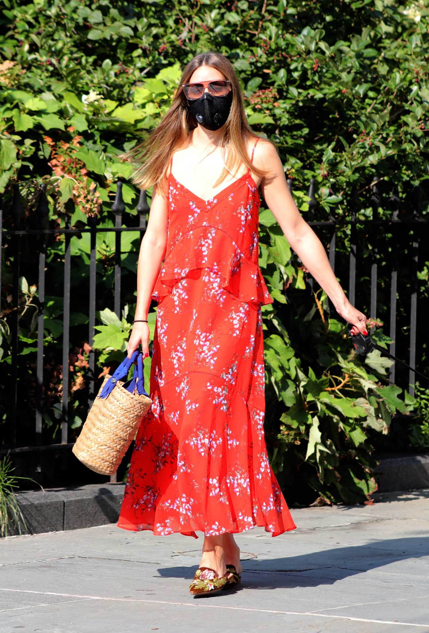 Olivia Palermo in a Red Summer Dress Walks Her Dog in Brooklyn 08/10/2020