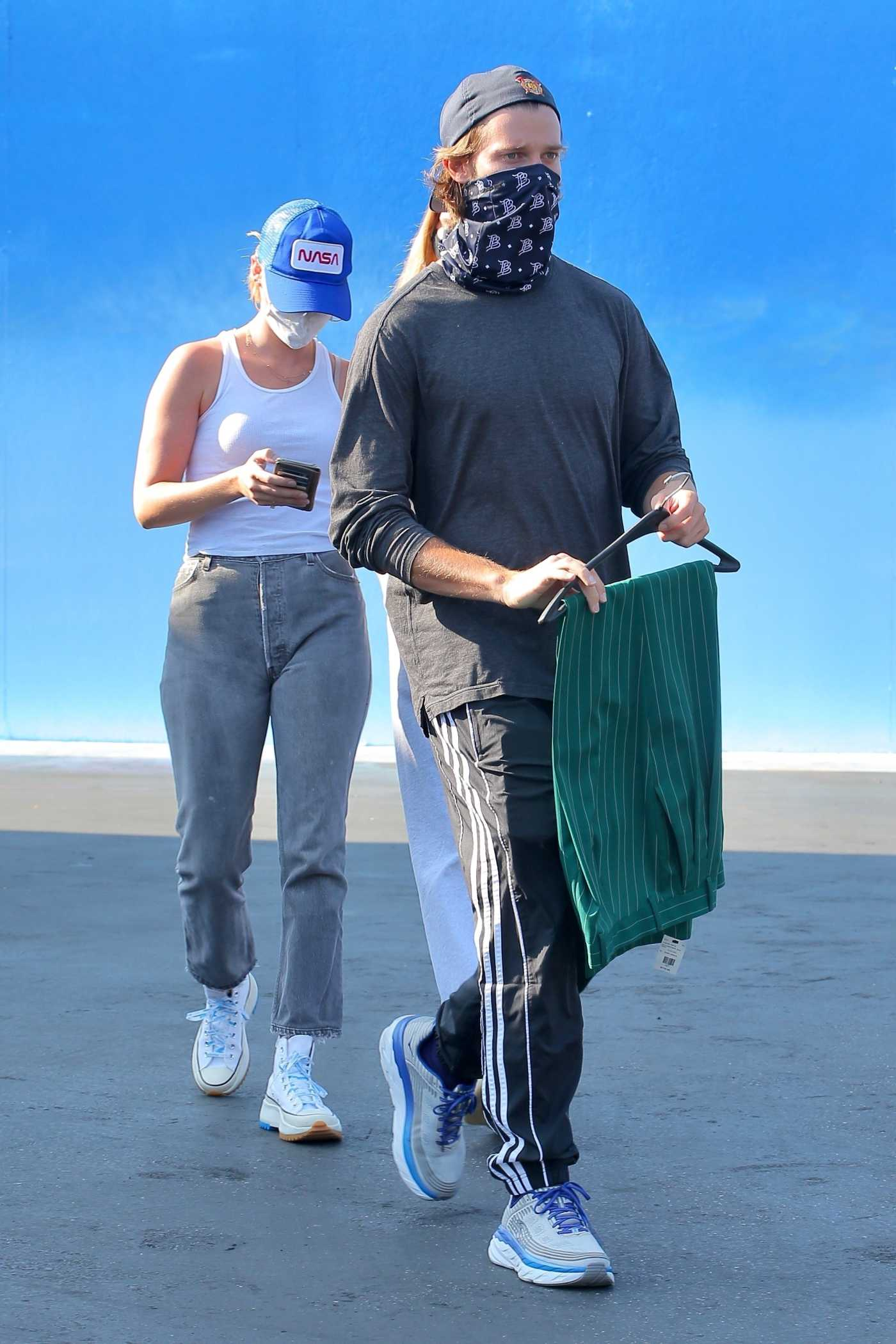 Patrick Schwarzenegger in a Gray Cap Was Seen Out with Abby Champion in West Hollywood 08/04/2020