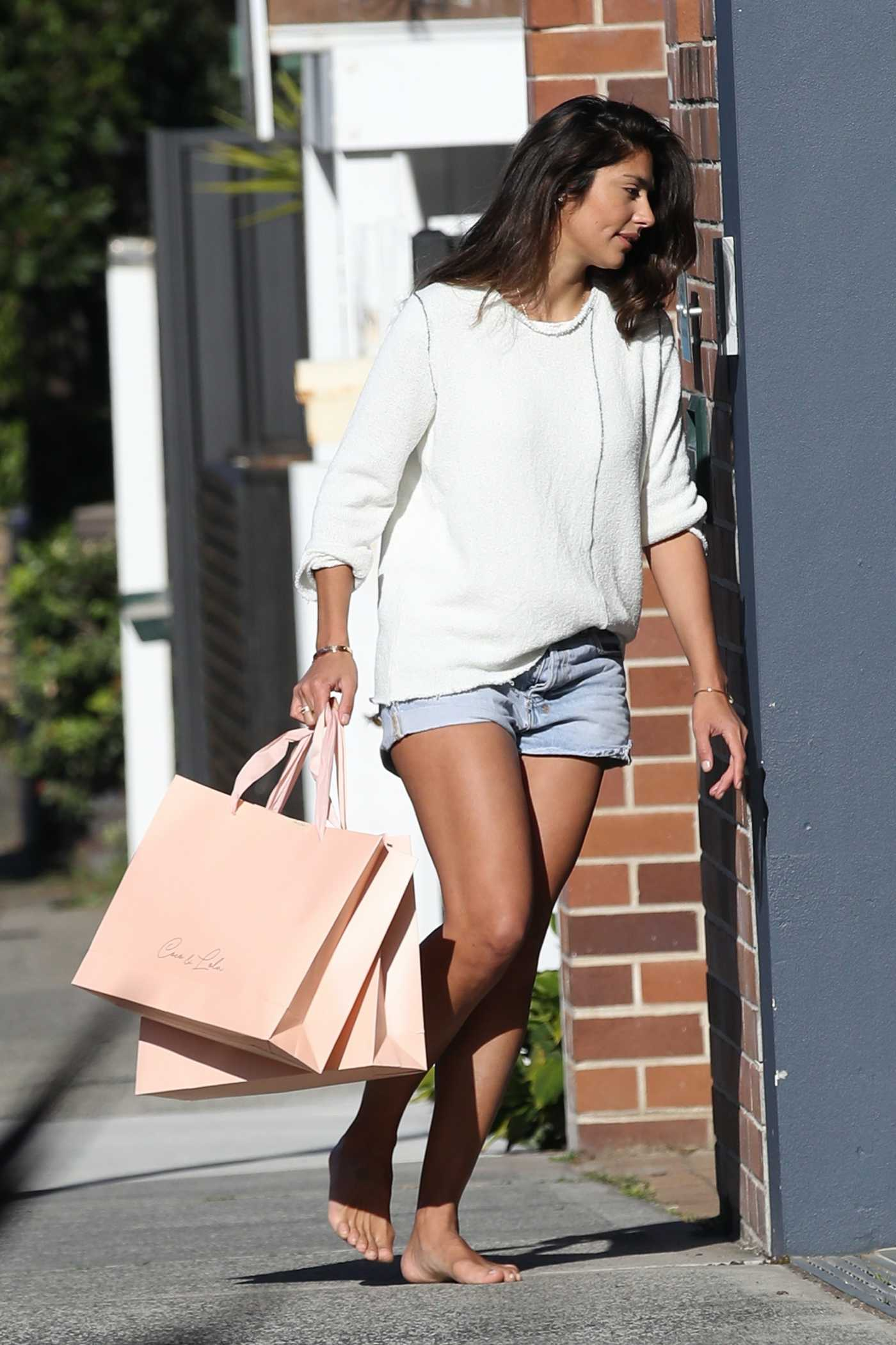 Pia Miller in a Blue Daisy Duke Shorts Was Seen Out in Sydney 07/31/2020