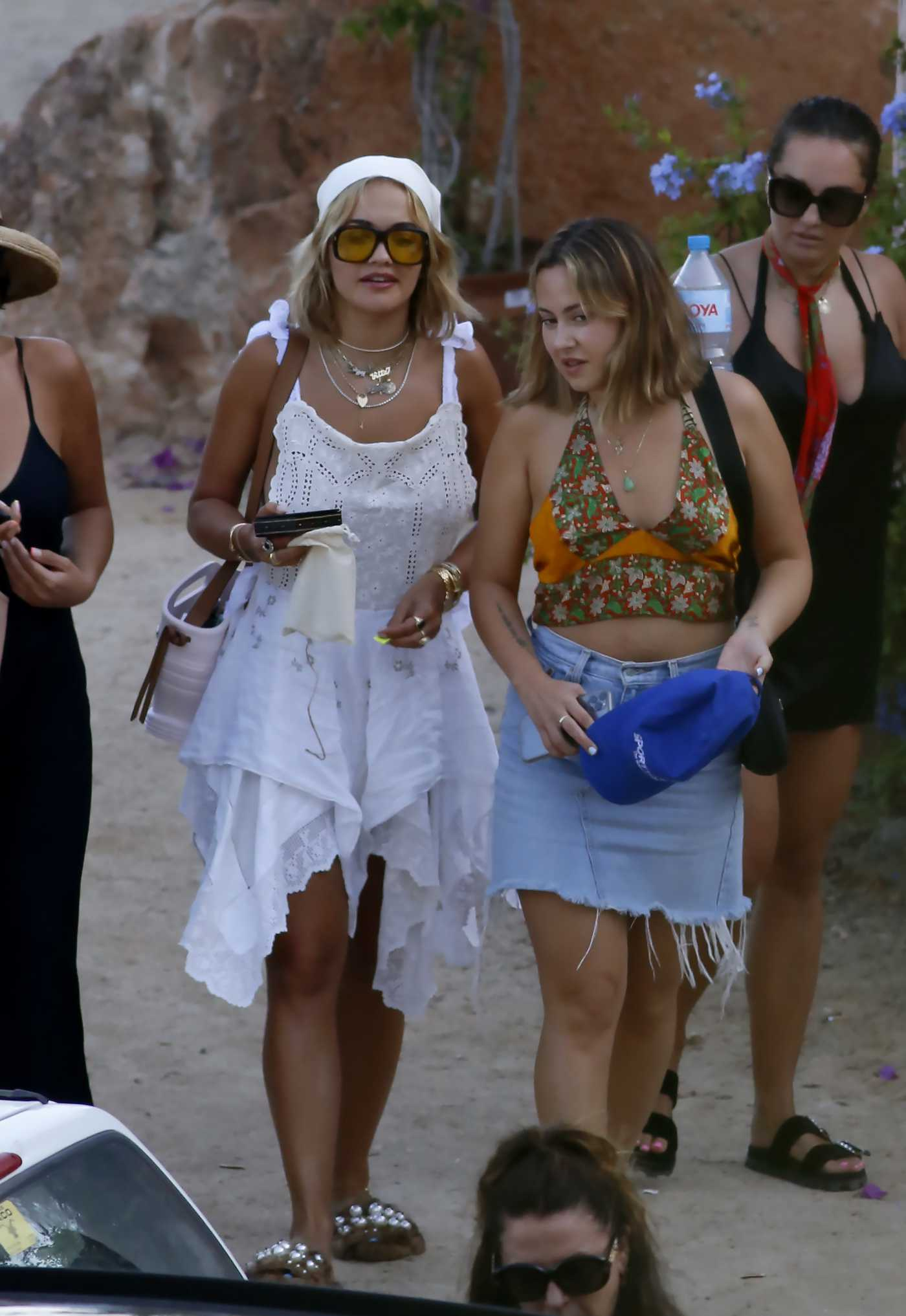 Rita Ora in a Short White Summer Dress Leaves the Ses Boques Restaurant in Ibiza 08/05/2020