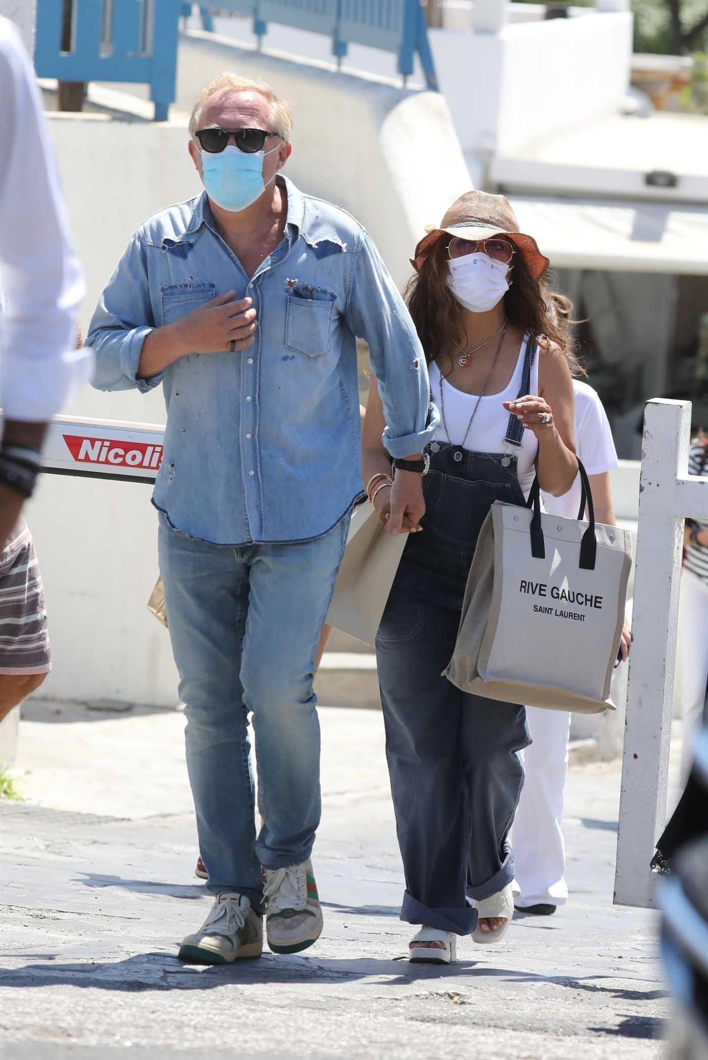 Salma Hayek in a White Tank Top Was Seen Out with Francois-Henri Pinault in Mykonos 08/29/2020