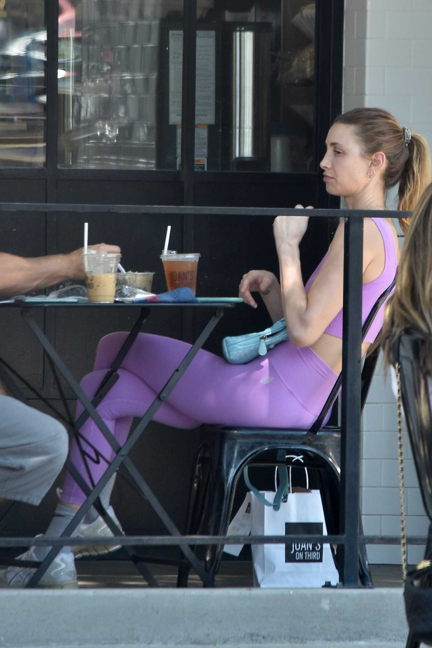 Whitney Port in a Purple Workout Ensemble Enjoys a Lunch Date at Joan's on Third in Studio City 08/28/2020