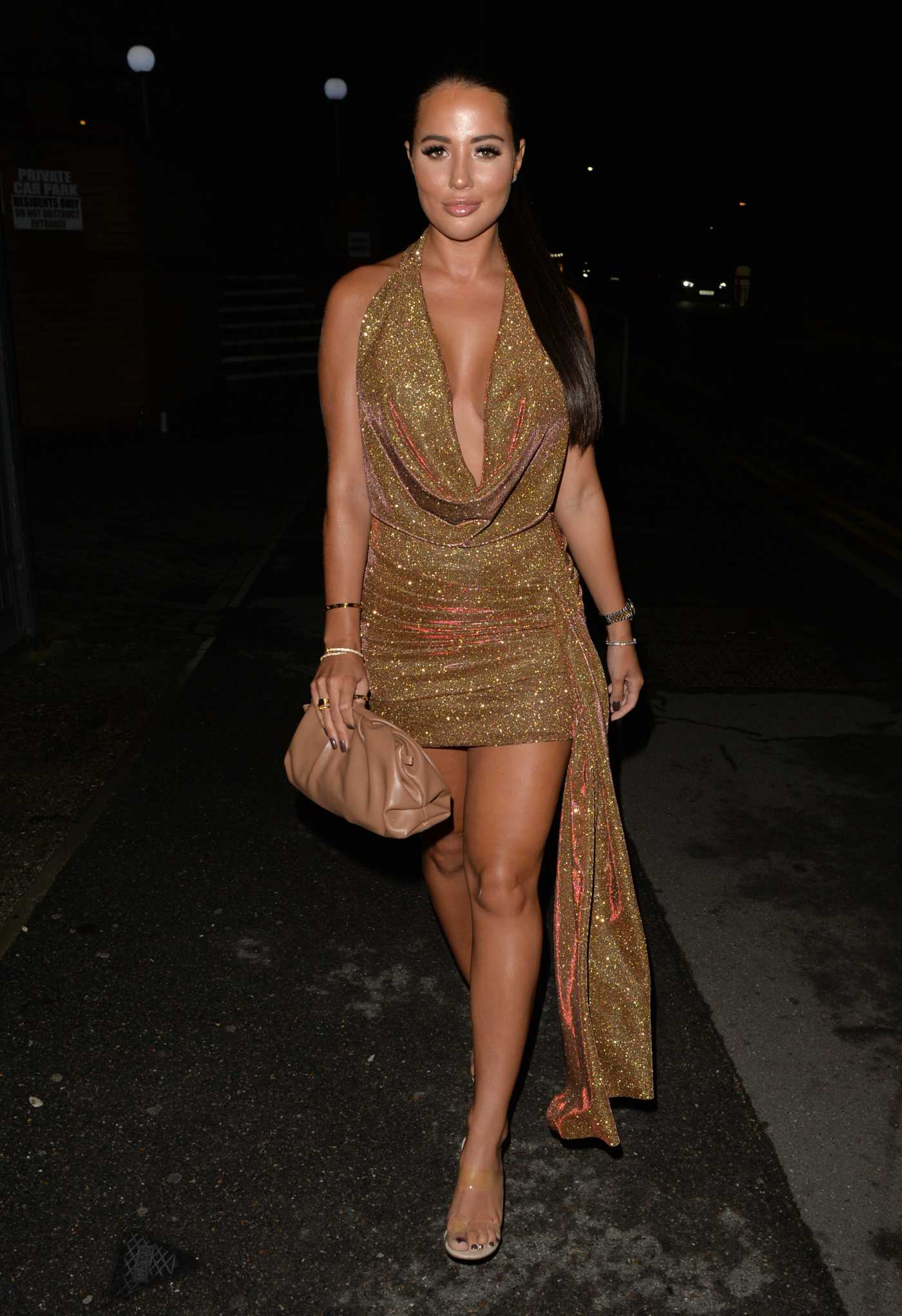 Yazmin Oukhellou in a Gold Dress Arrives at the Gallery Brasserie in London 08/15/2020