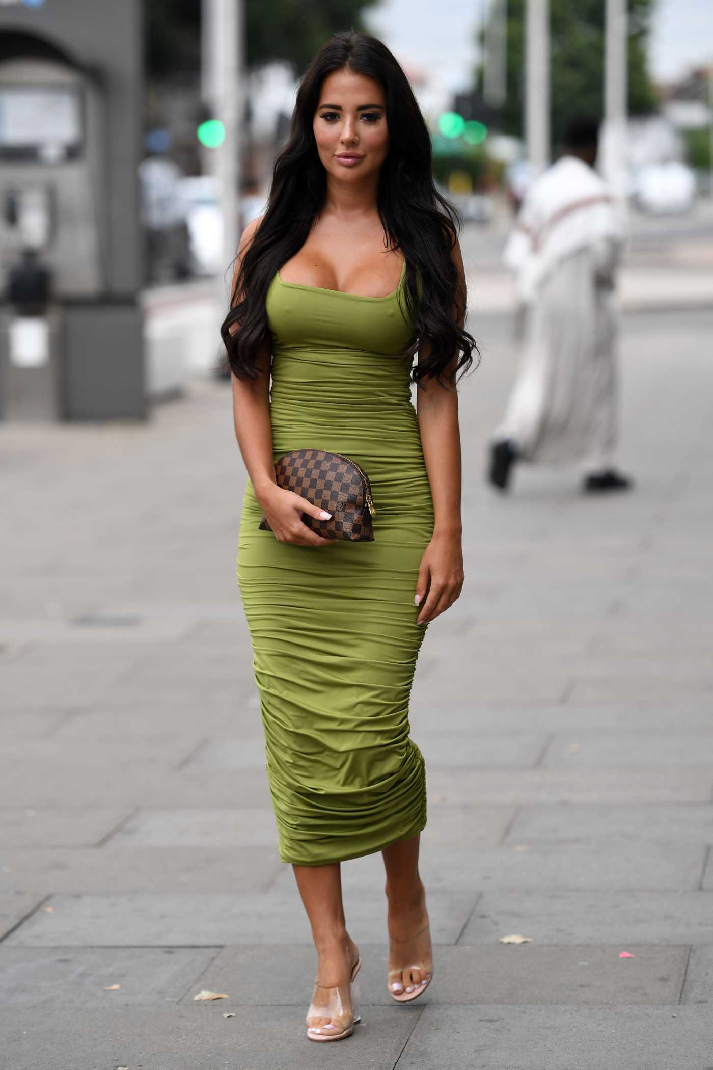 Yazmin Oukhellou in a Green Dress Was Seen Out in Essex 08/06/2020