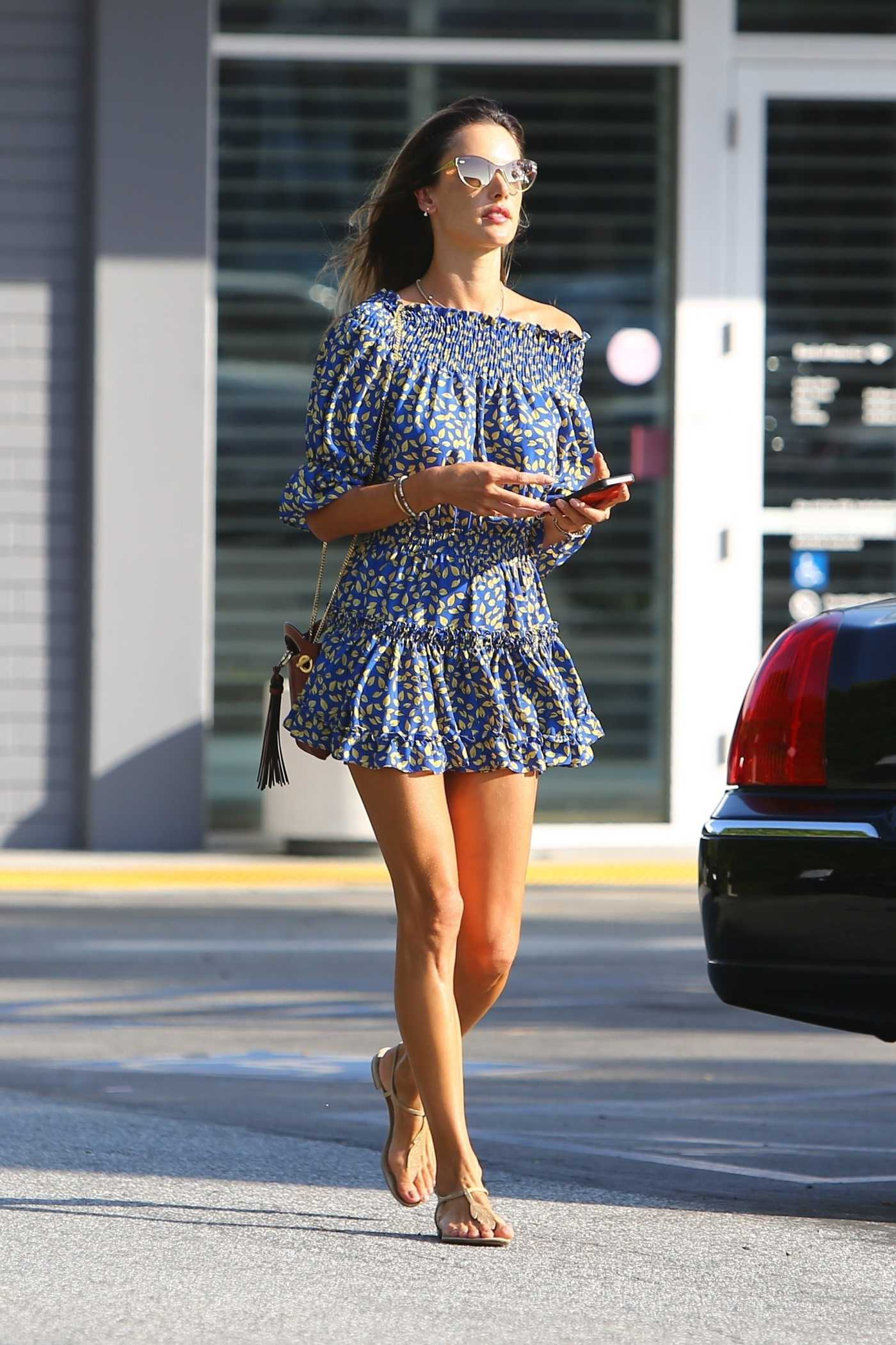 Alessandra Ambrosio in a Blue Mini Dress Stops by the Bank in Brentwood 09/03/2020
