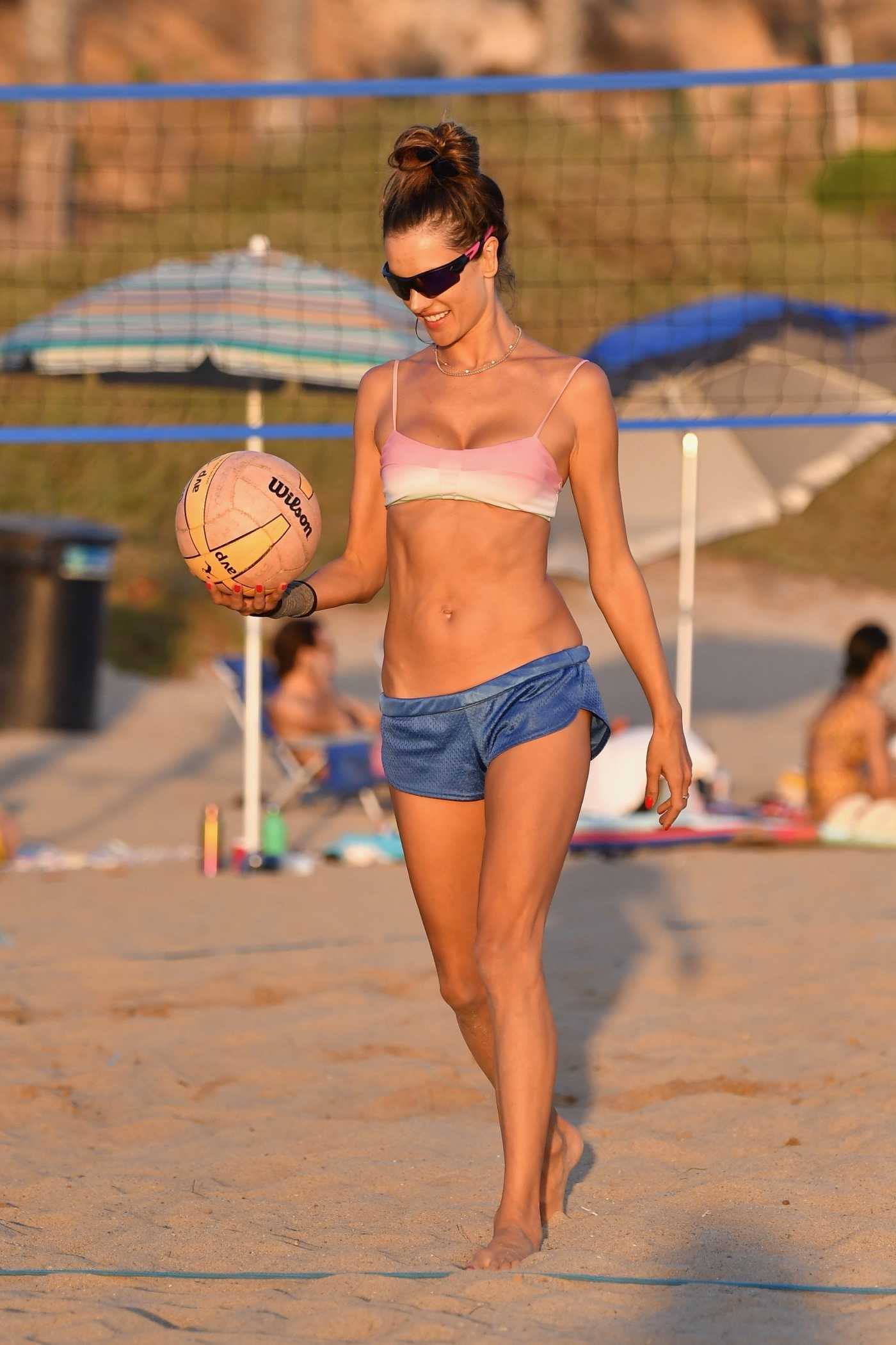 Alessandra Ambrosio in Bikini Plays Volleyball on the Beach in Santa Monica 09/19/2020