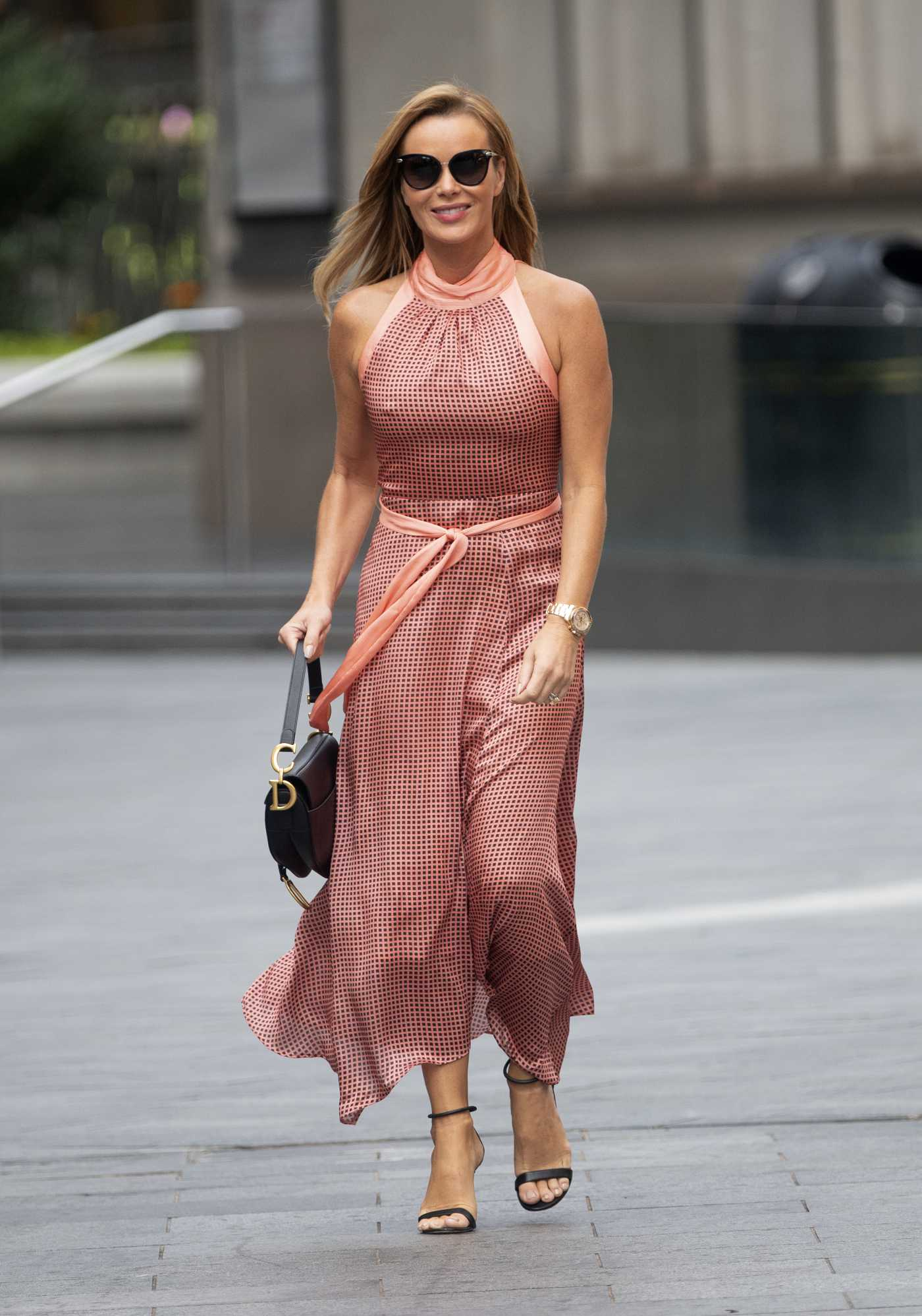 Amanda Holden in a Tight Dress Arrives at the Heart Radio in London 09/07/2020