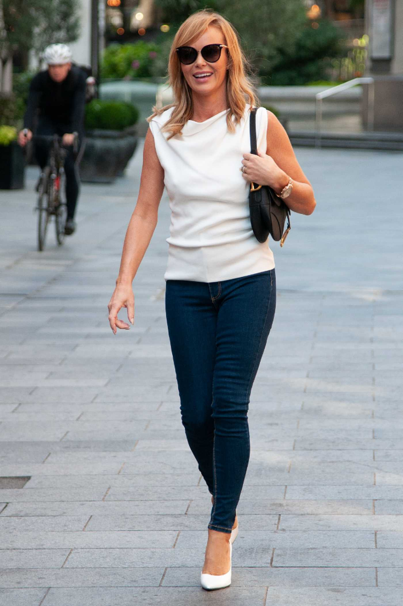 Amanda Holden in a White Blouse Leaves the Heart Radio in London 09/09/2020