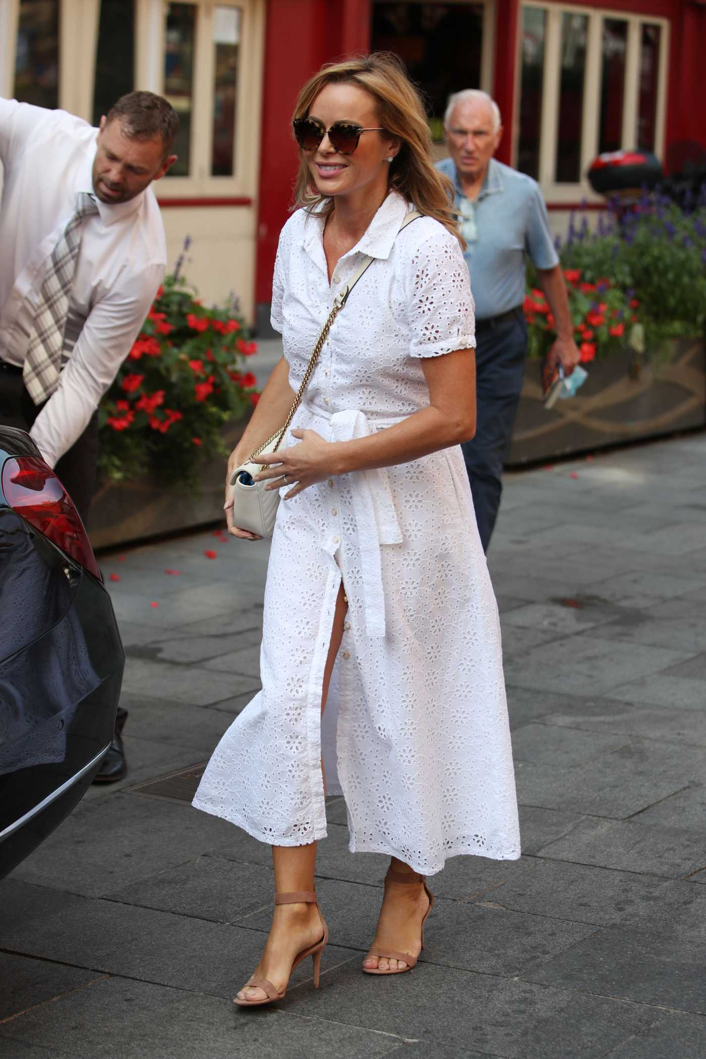 Amanda Holden in a White Dress Leaves the Global House in London 09/15/2020