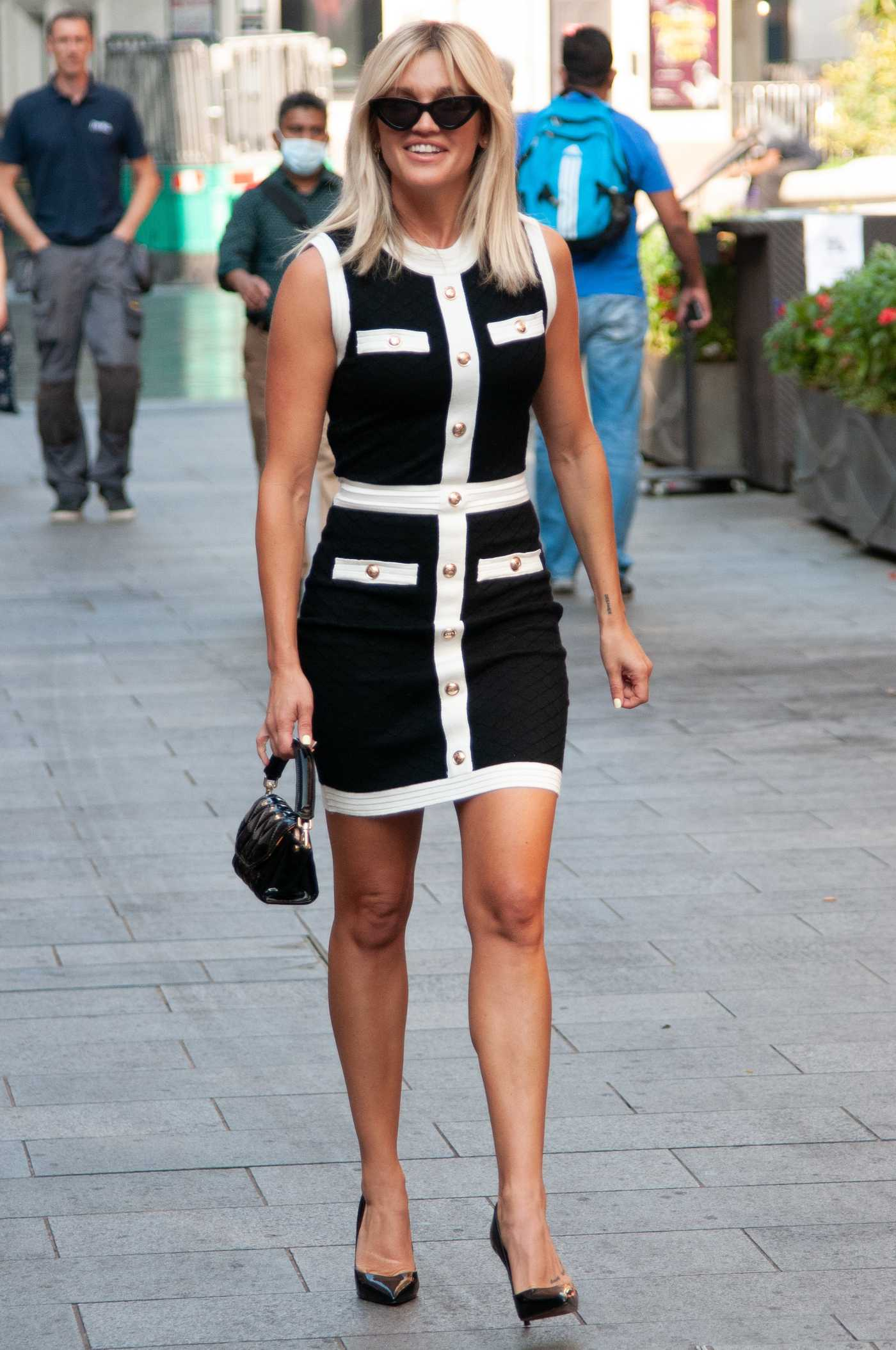 Ashley Roberts in a Black and White Dress Leaves the Global Studios in London 09/15/2020
