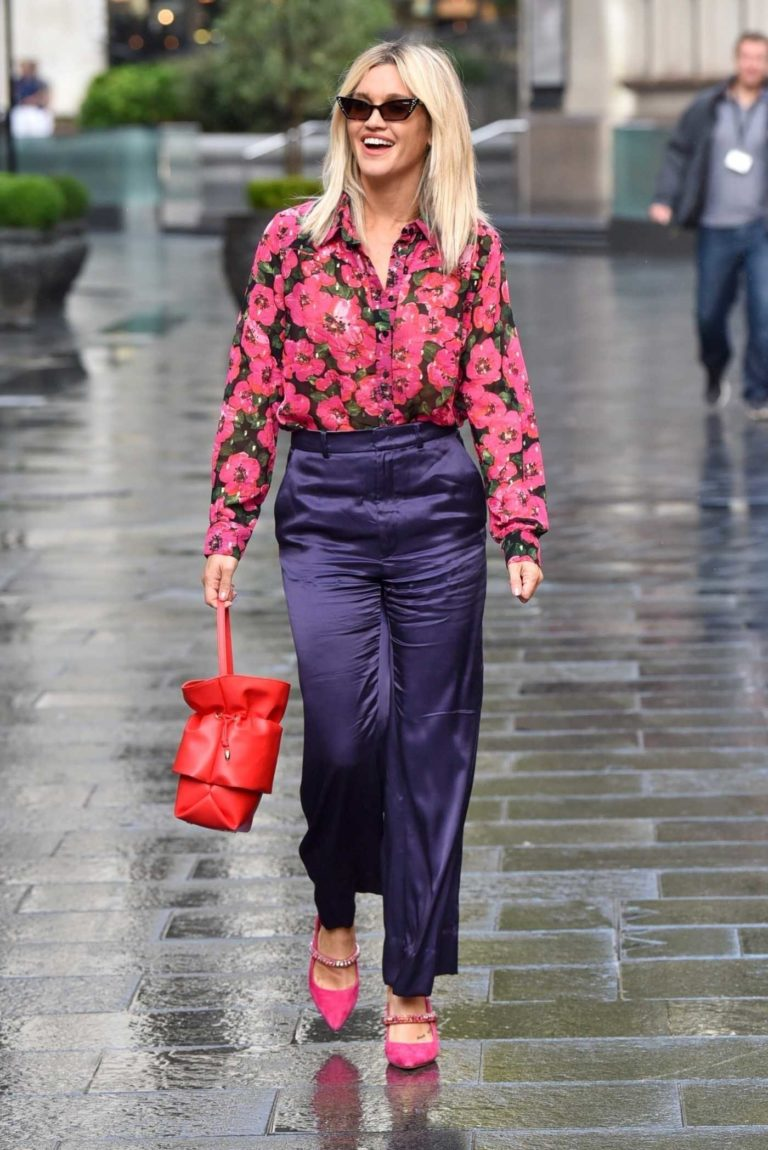 Ashley Roberts in a Floral Blouse