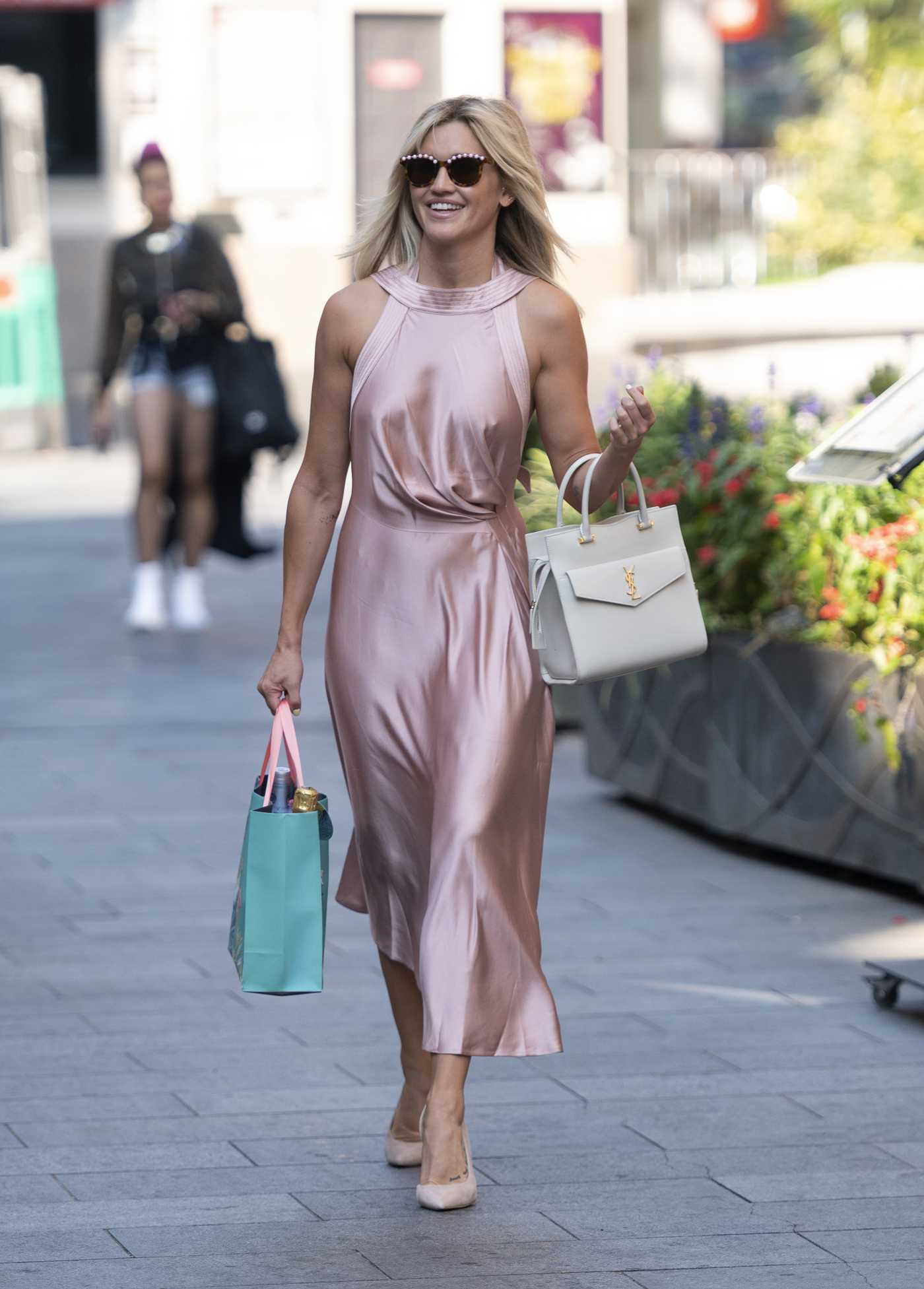 Ashley Roberts in a Pink Dress Arrives at the Global Radio Studios in London 09/14/2020