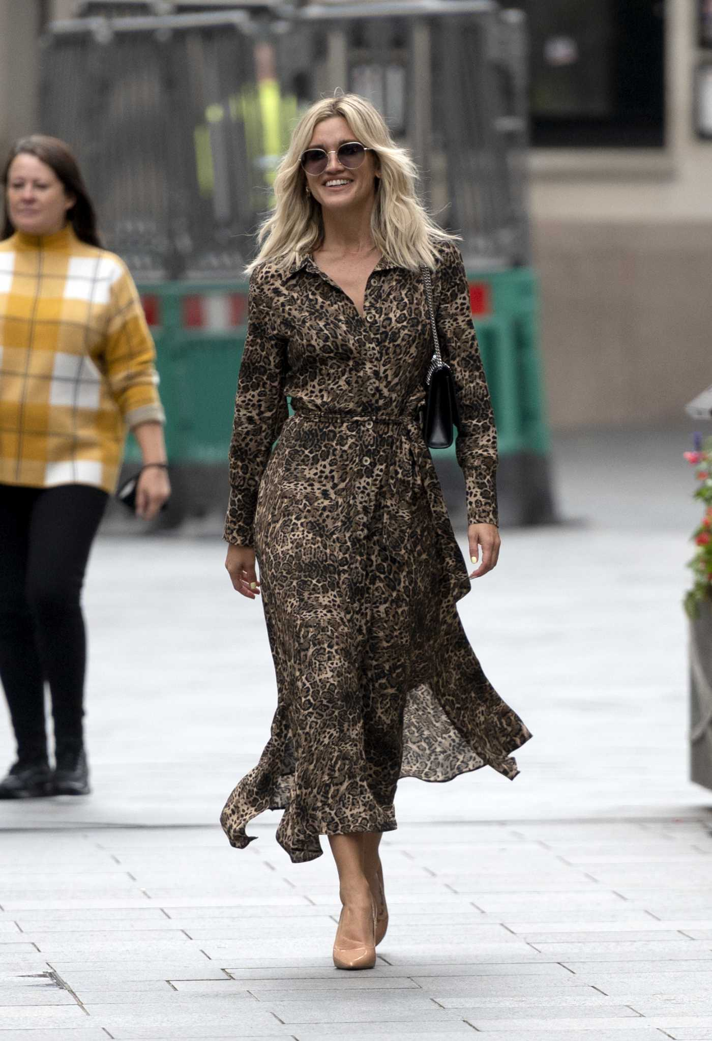 Ashley Roberts in an Animal Print Dress Arrives at the Global Radio Studios in London 09/04/2020