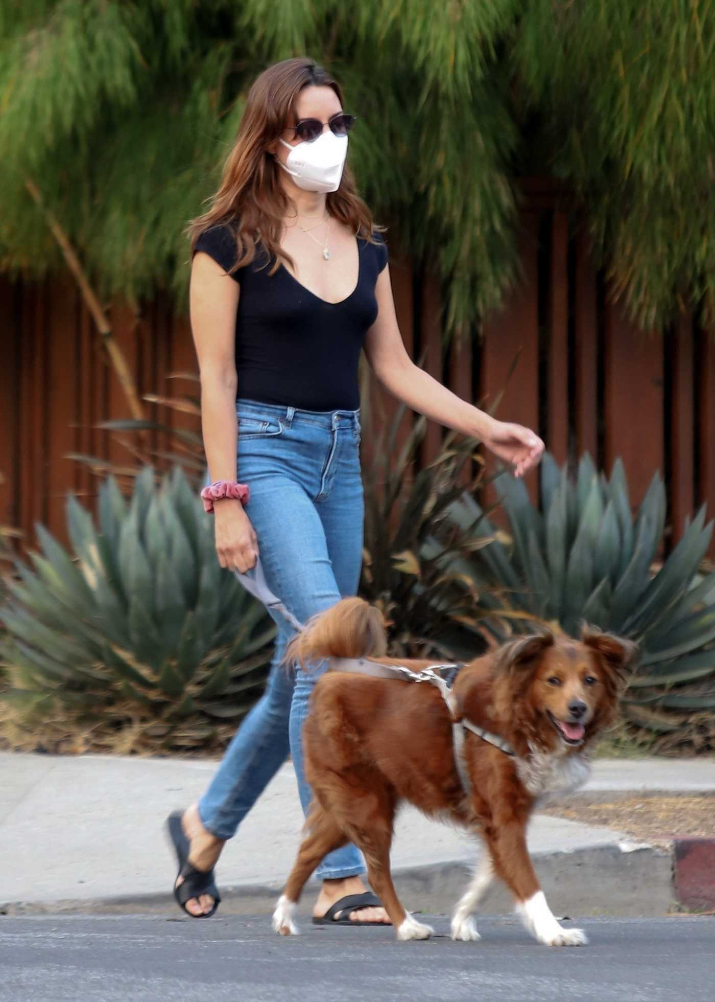 Aubrey Plaza in a Protective Mask Walks Her Dogs Out with Jeff Baena in Los Angeles 09/15/2020