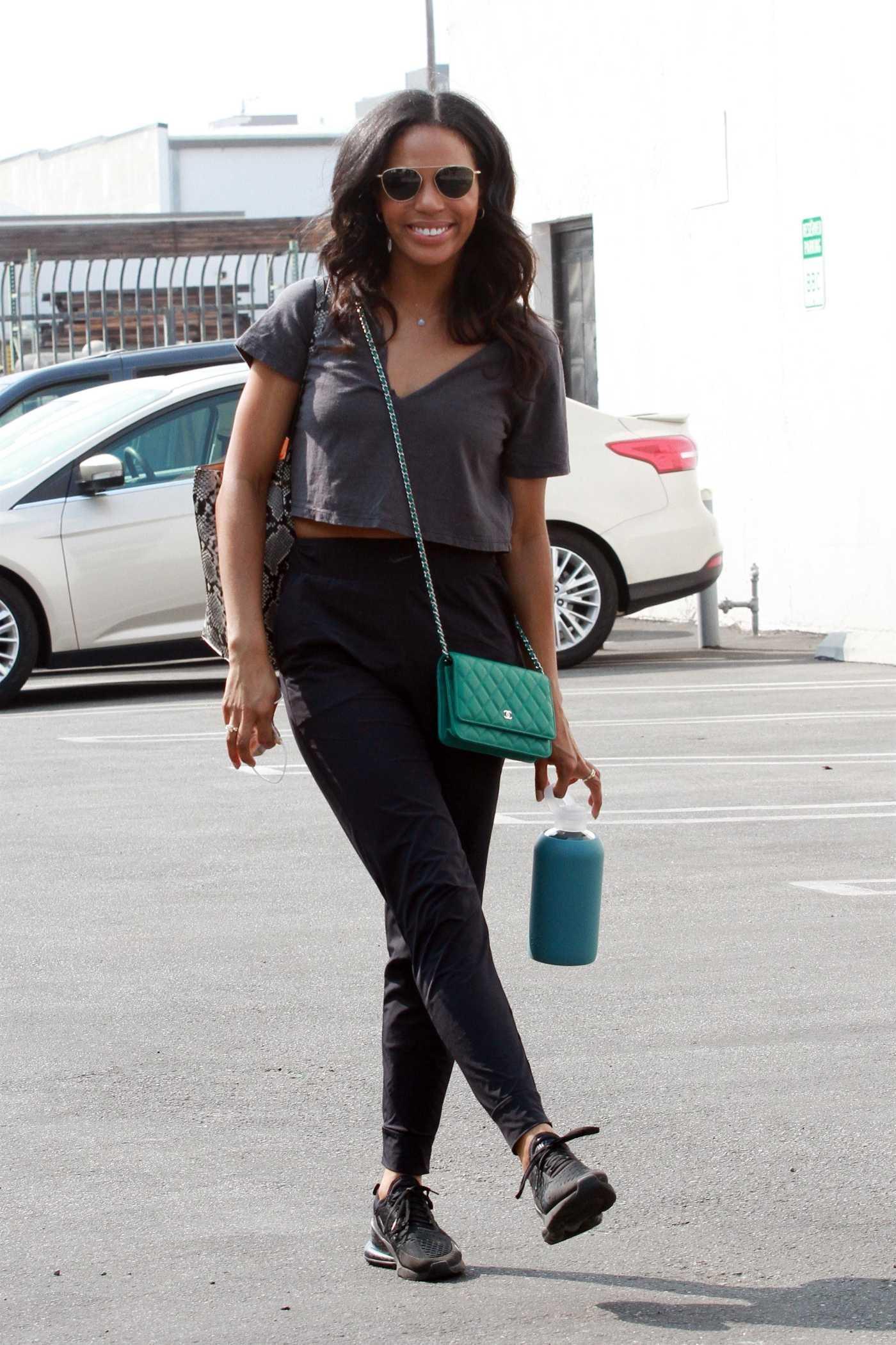 Britt Stewart in a Black Sneakers Arrives at Practice at the Dance Studio in Los Angeles 09/16/2020