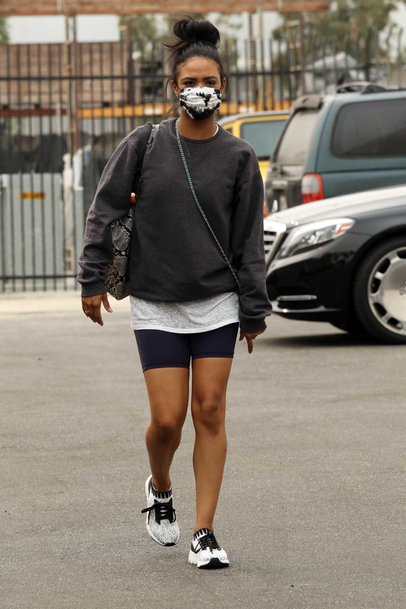 Britt Stewart in a Protective Mask Arrives at the DWTS Studio in Los Angeles 09/12/2020