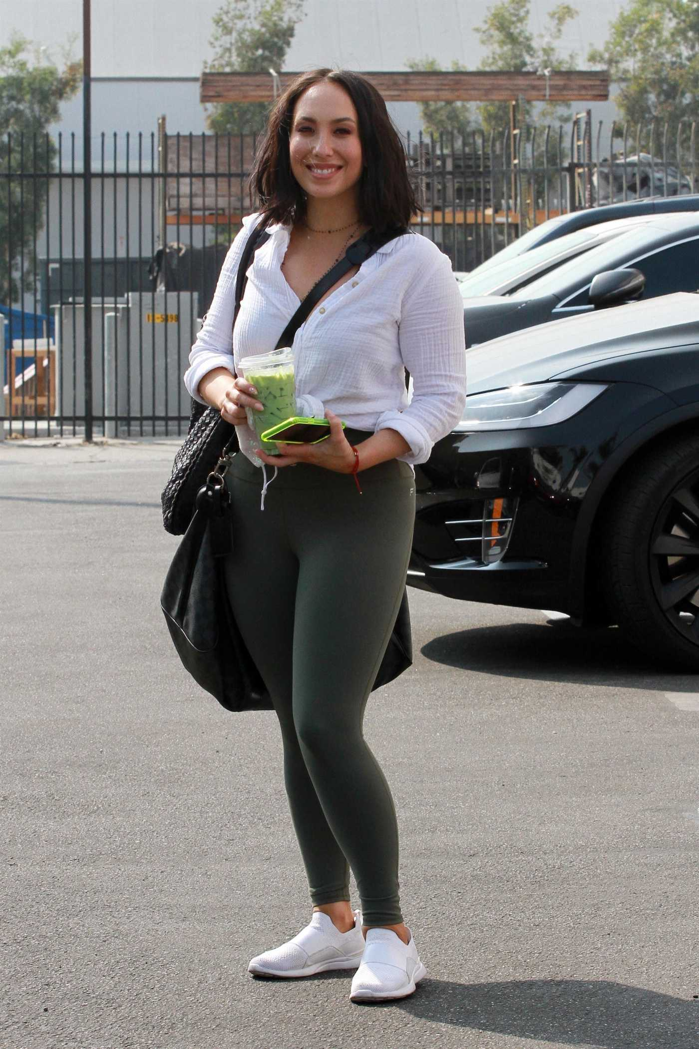 Cheryl Burke in an Olive Leggings Arrives at Practice at the Dance Studio in Los Angeles 09/16/2020