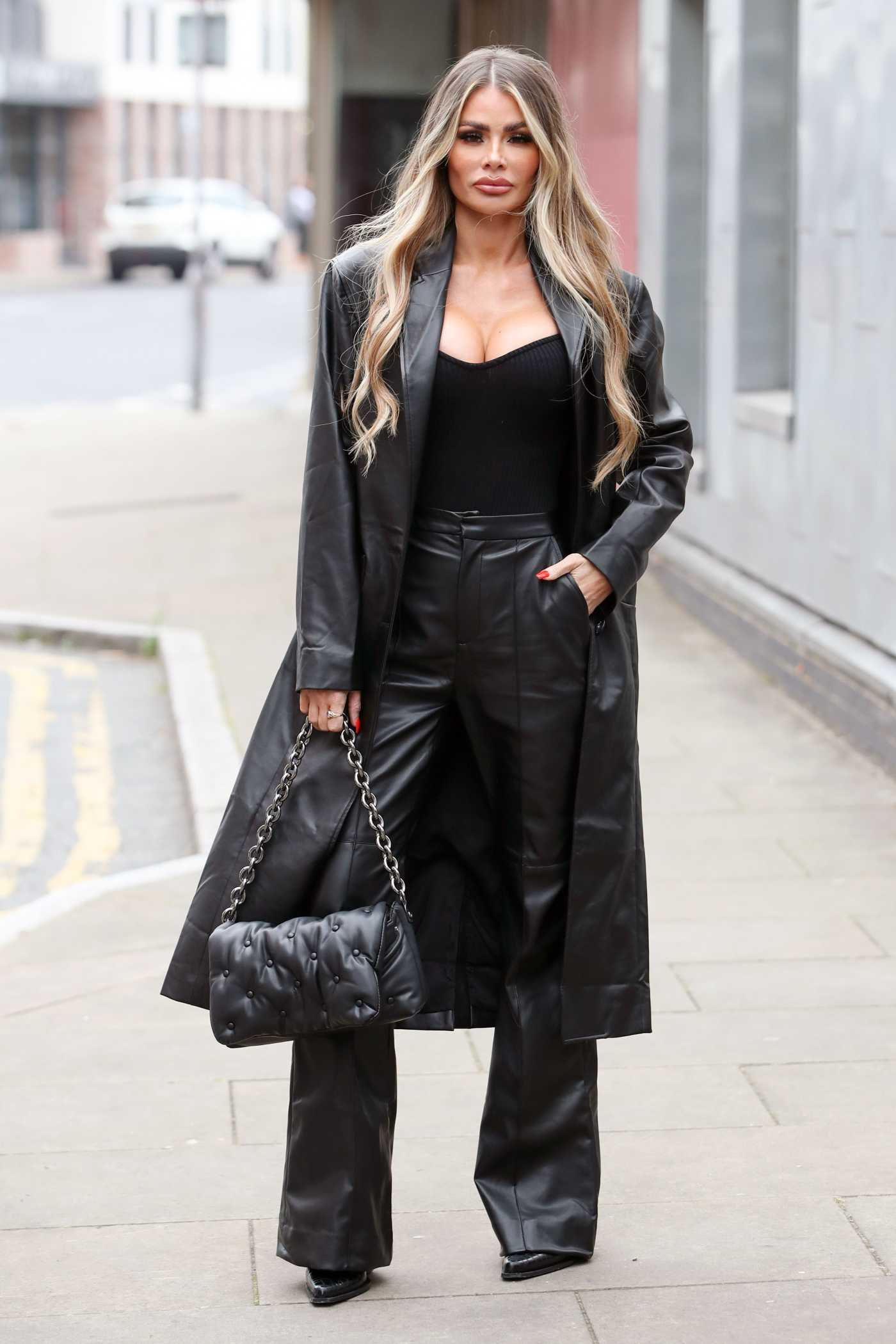 Chloe Sims in a Black Leather Outfit on the Set of The Only Way is Essex TV Show in Essex 09/21/2020