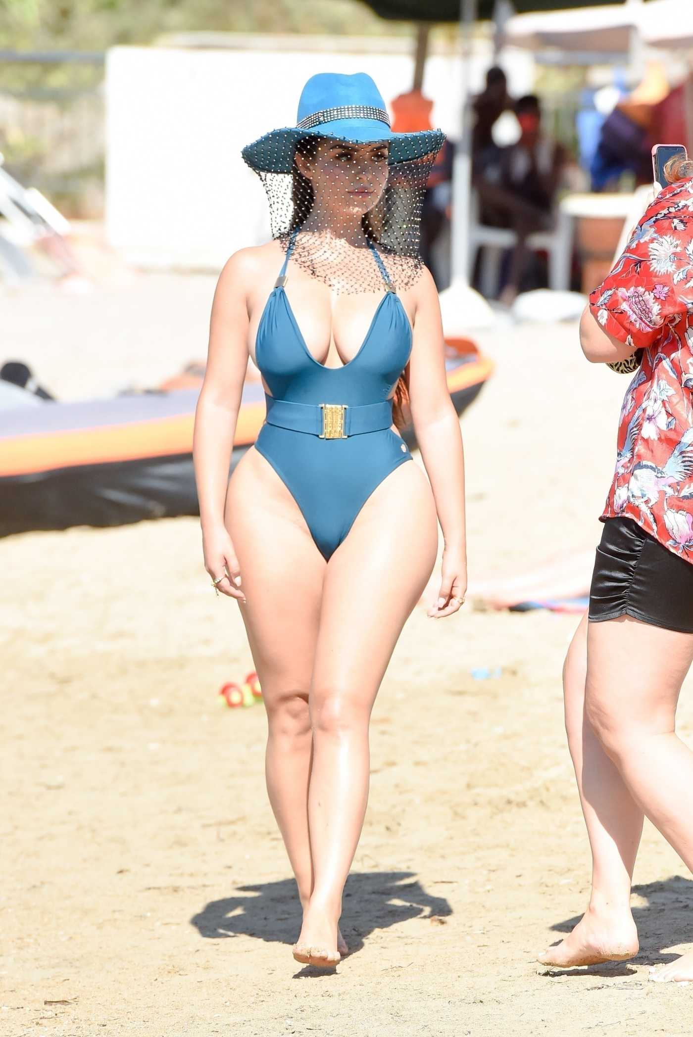 Demi Rose in a Blue Swimsuit on the Beach in Ibiza 09/10/2020