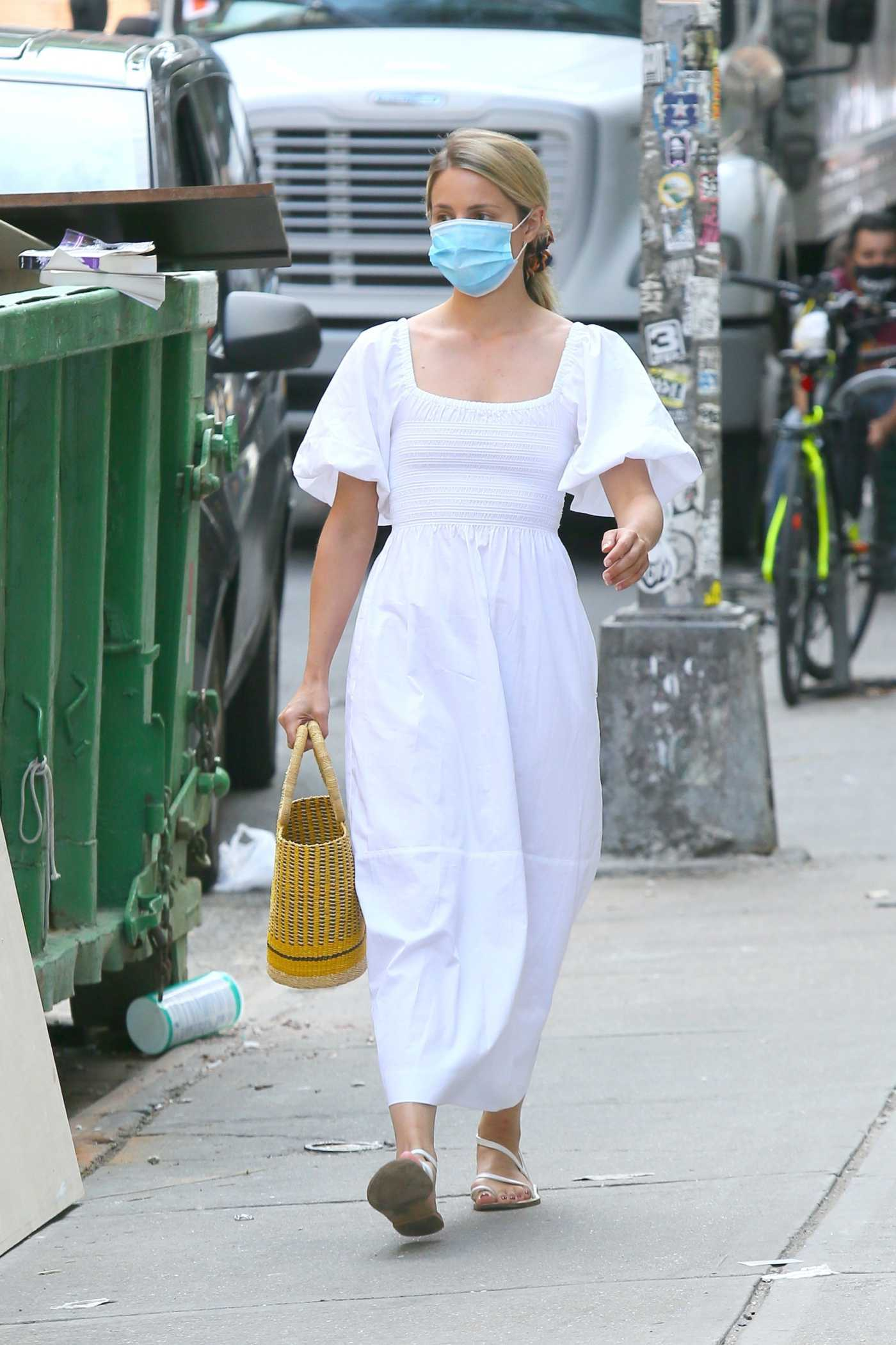 Dianna Agron in a White Dress Was Spotted Out in Soho, New York 09/03/2020
