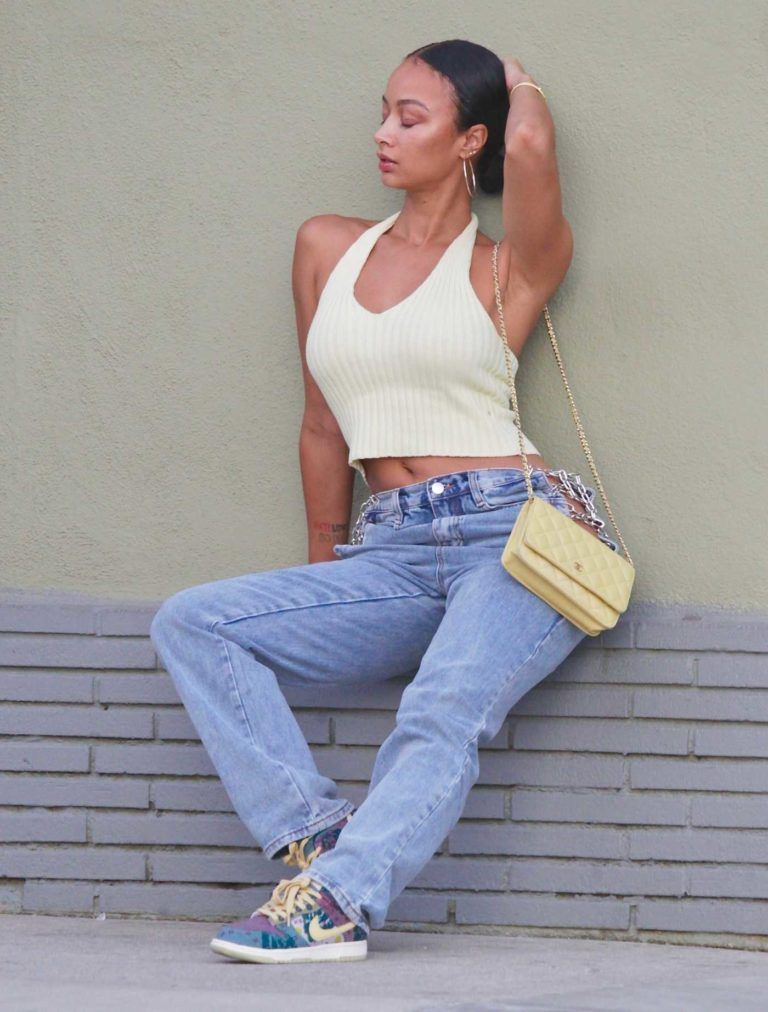 Draya Michele in a Beige Top