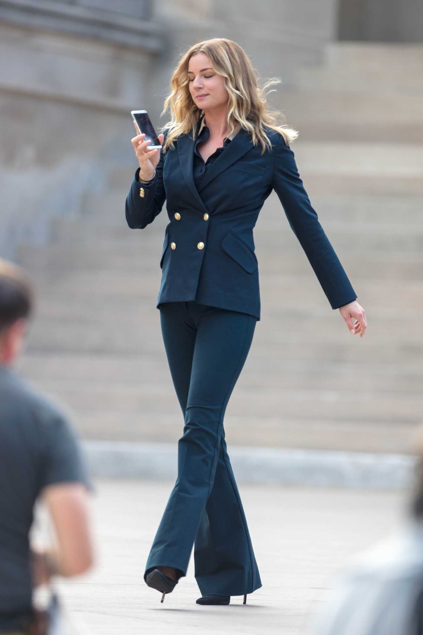 Emily VanCamp in a Blue Suit on the Set of The Falcon and the Winter Soldier in Atlanta 09/14/2020