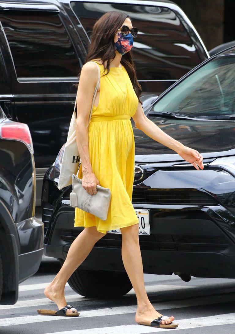 Famke Janssen in a Yellow Dress