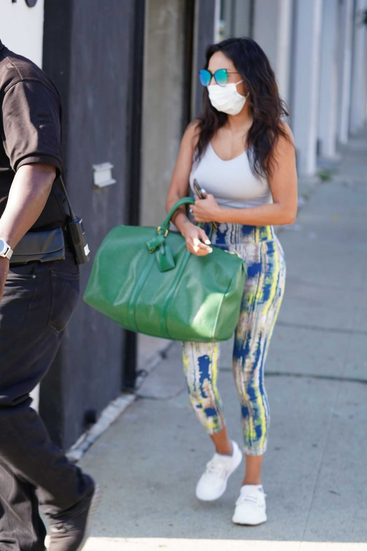 Jeannie Mai in a White Sports Bra Departs from the Dancing With the Stars Rehearsal Studios in Los Angeles 09/03/2020