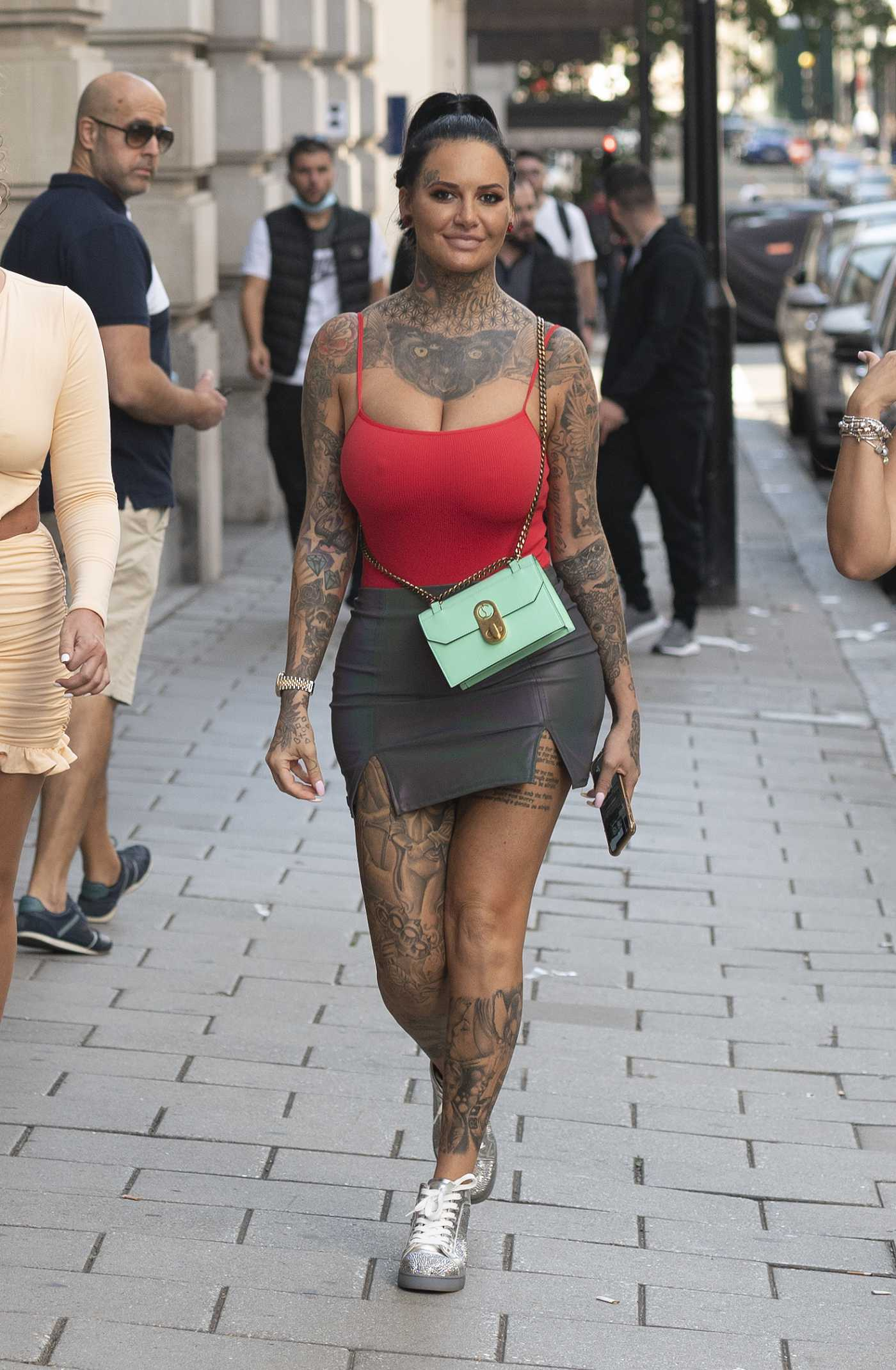 Jemma Lucy in a Red Top Heads Out for Lunch in Mayfair, London 09/13/2020