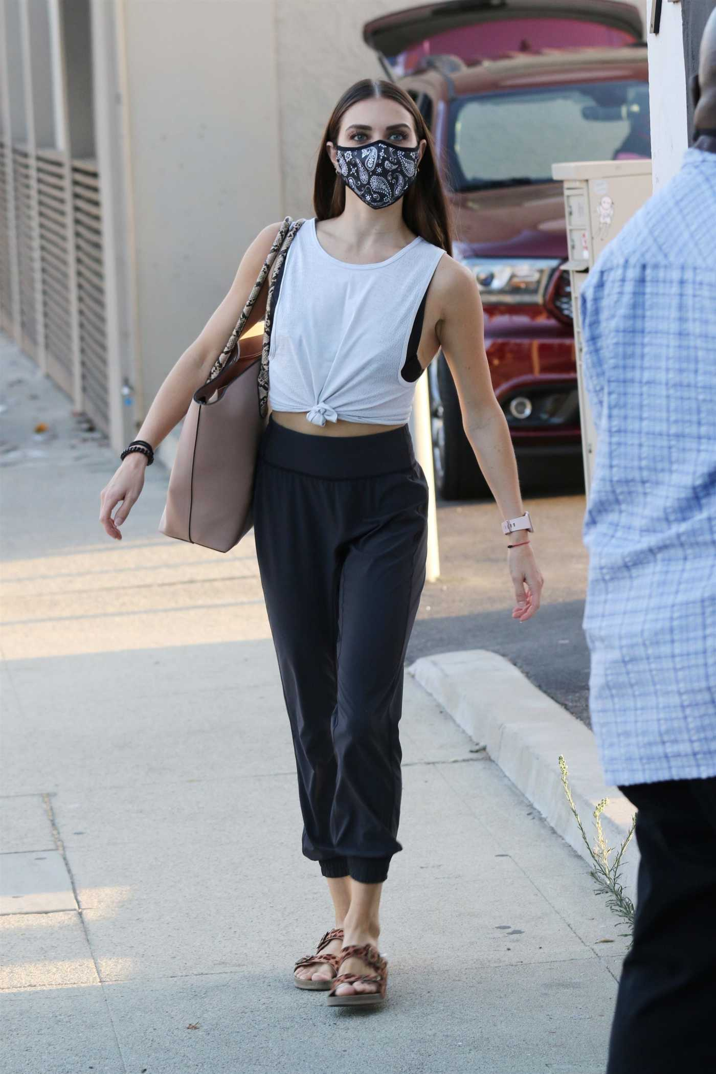 Jenna Johnson in a White Tank Top Arrives at the DWTS Studio in Los Angeles 09/20/2020