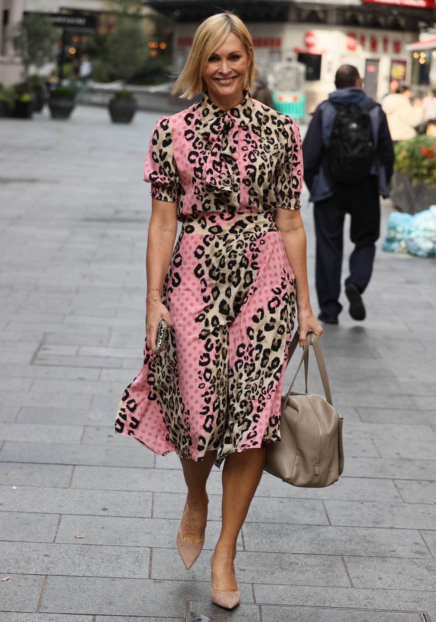 Jenni Falconer in an Animal Print Dress Was Seen Out in London 09/07/2020