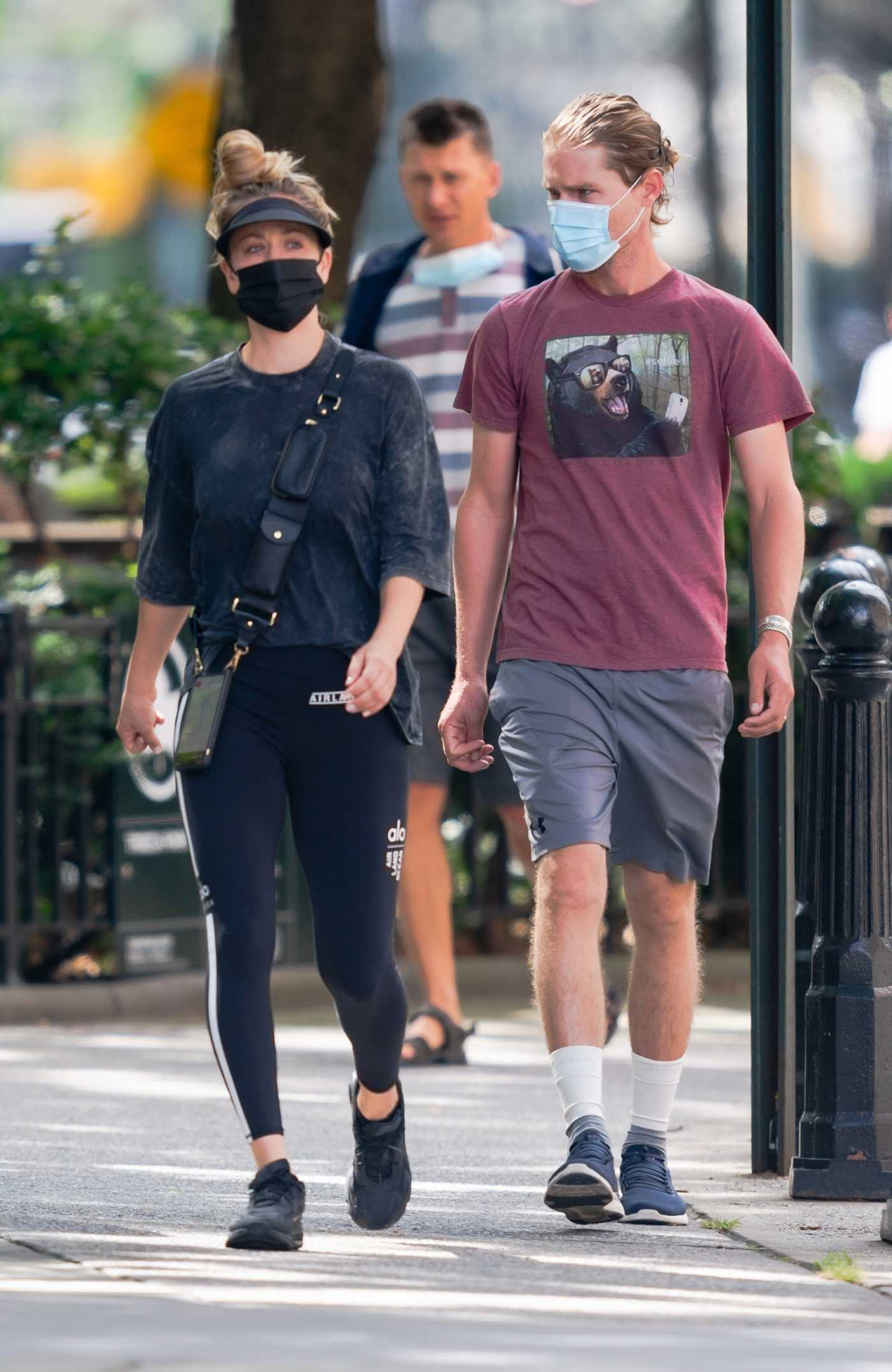 Kaley Cuoco in a Black Leggings Was Spotted Out with Karl Cook in New York 09/12/2020