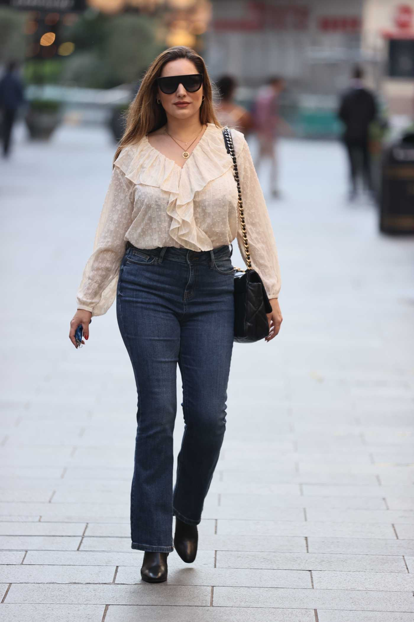 Kelly Brook in a Beige Blouse Was Seen Out in London 09/21/2020