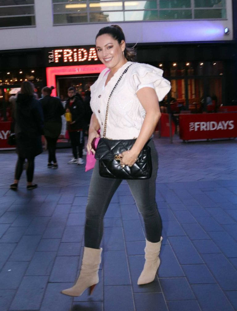 Kelly Brook in a Beige Boots