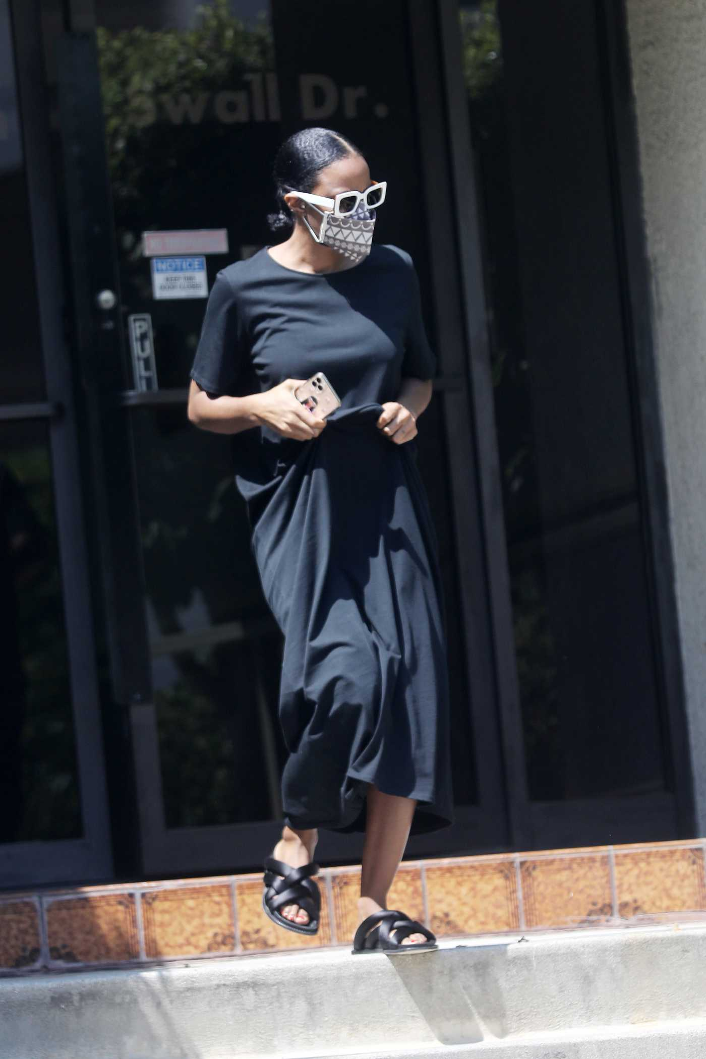 Kelly Rowland in a Black Dress Was Seen Out in West Hollywood 09/03/2020