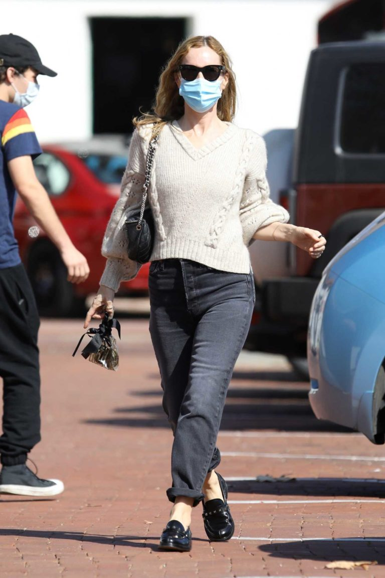 Leslie Mann in a Protective Mask